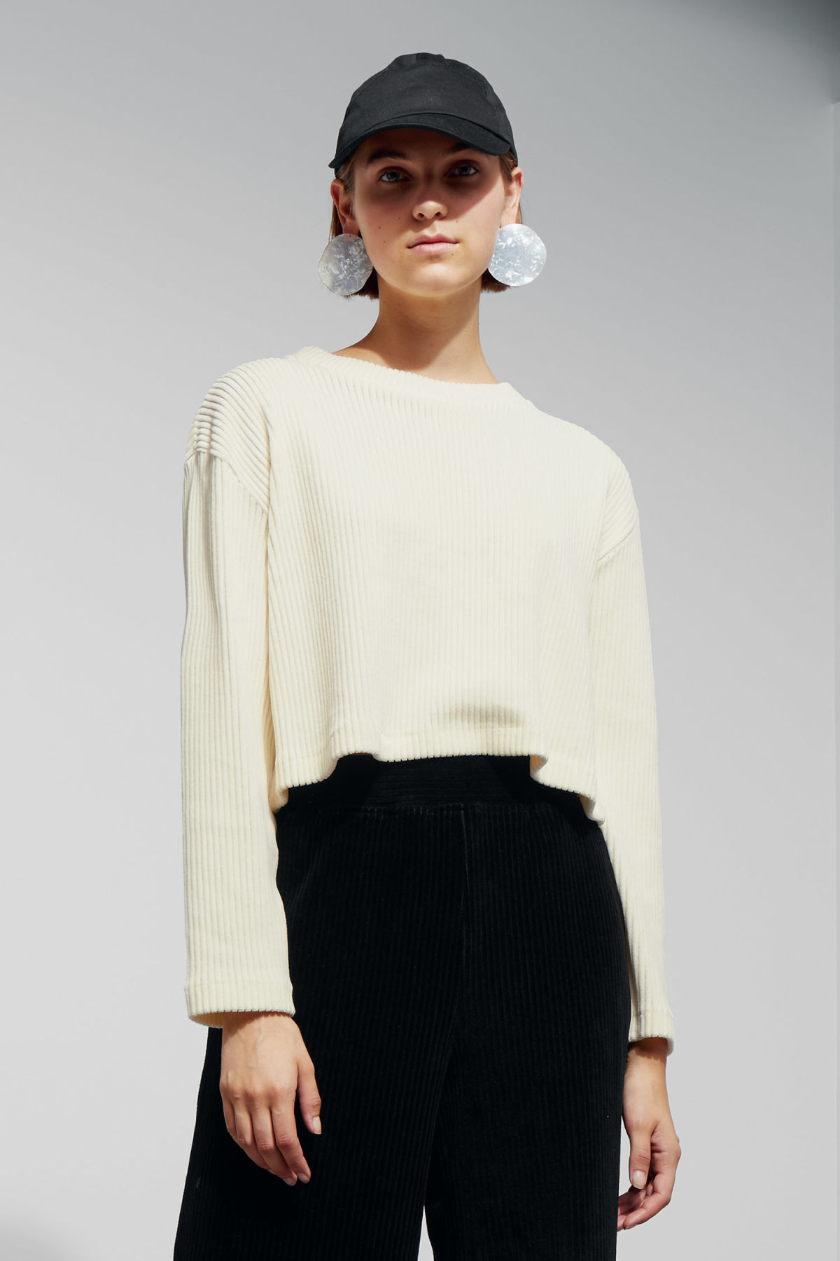 Model front image of Weekday shea long sleeve top in white