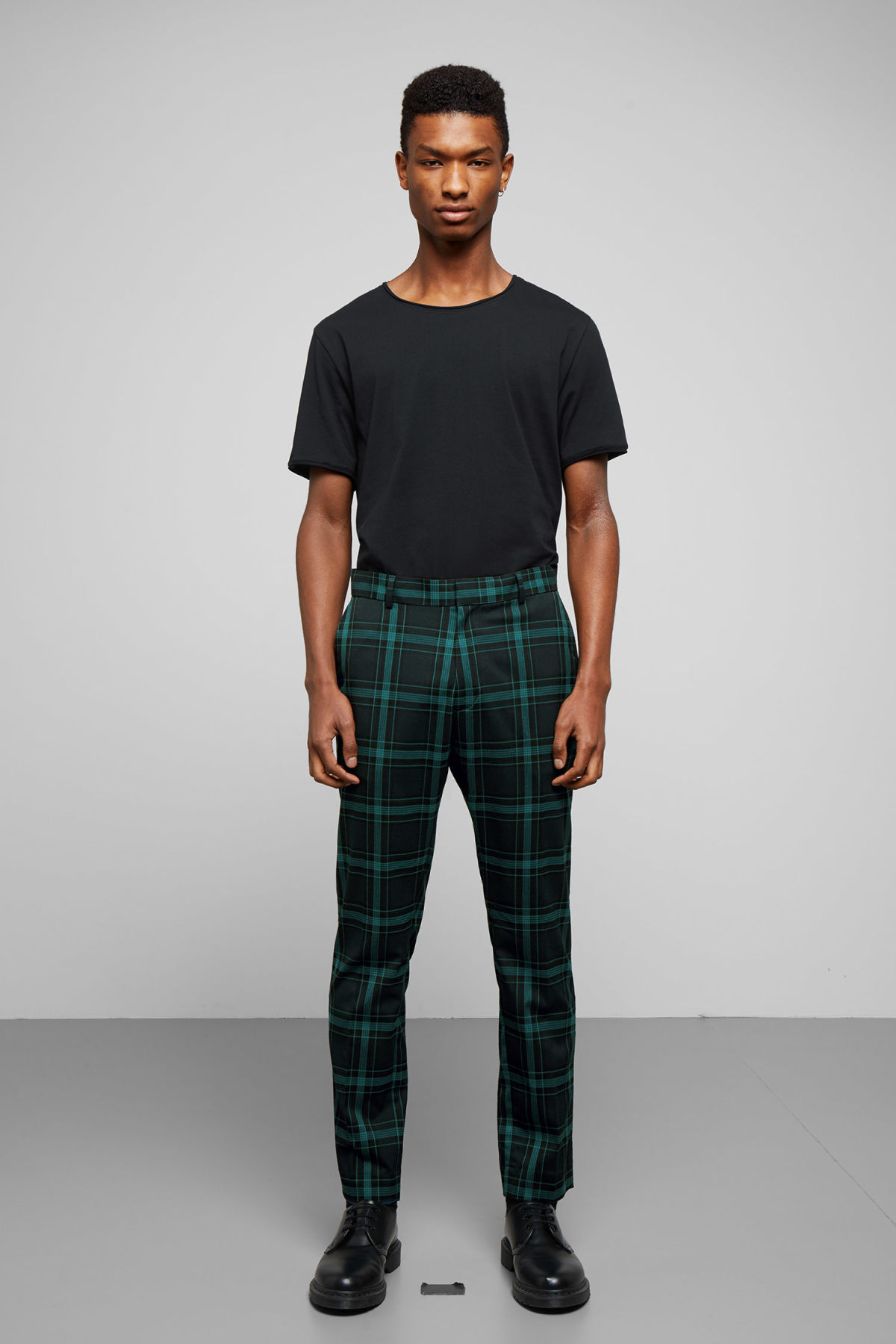 Model front image of Weekday checked suit trousers  in blue