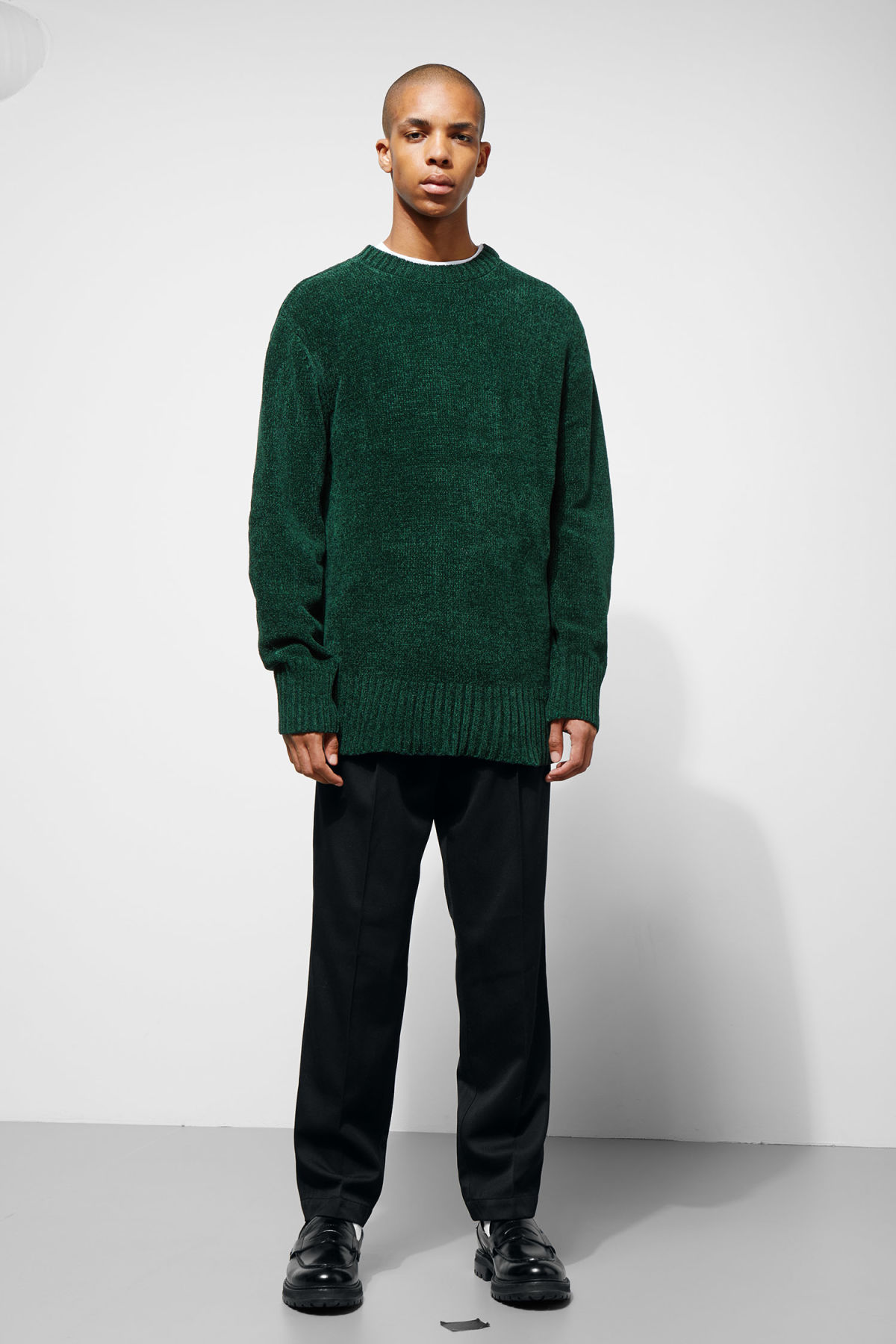 Model side image of Weekday chenille sweater in green