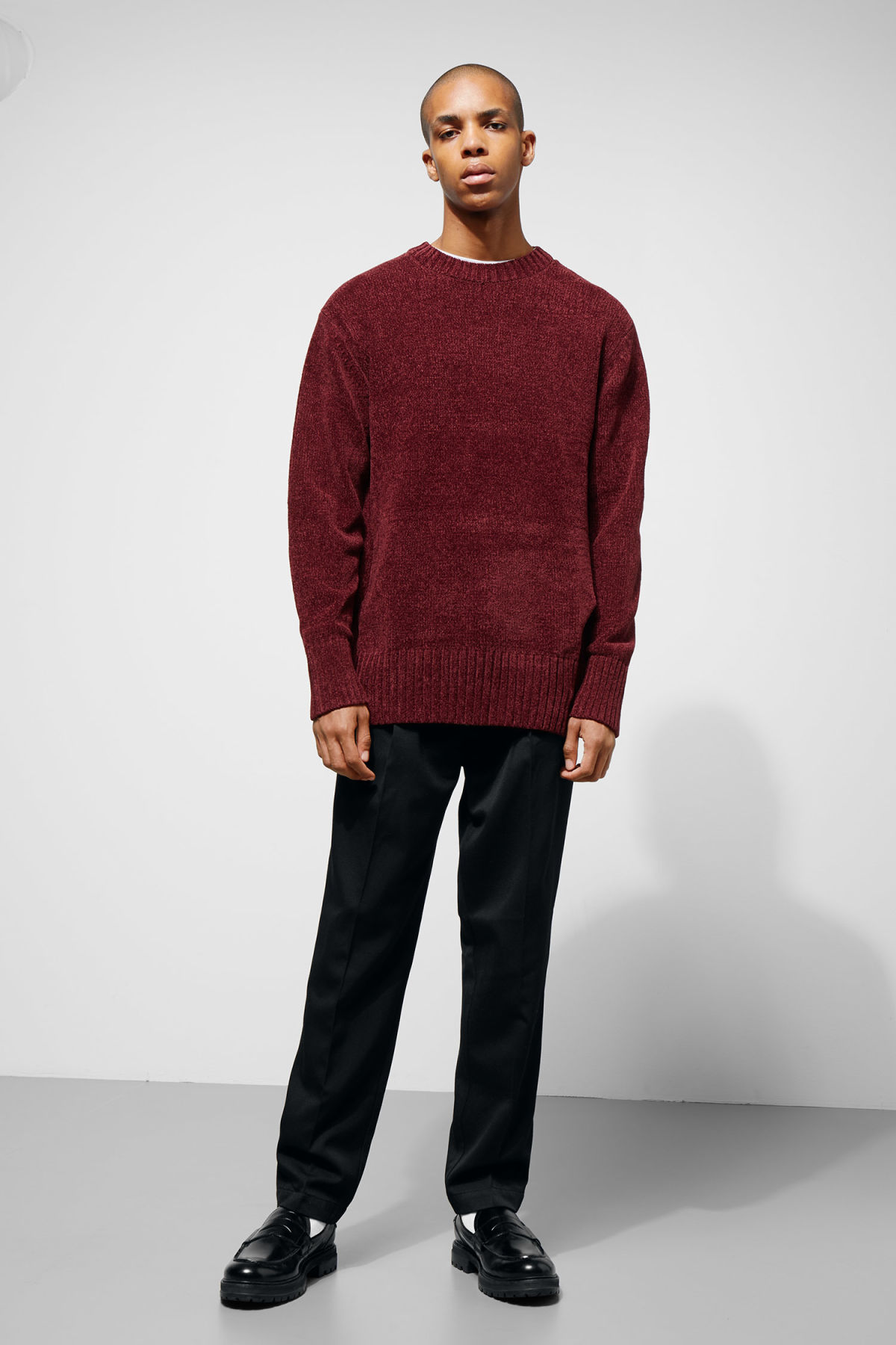 Model side image of Weekday chenille sweater in red