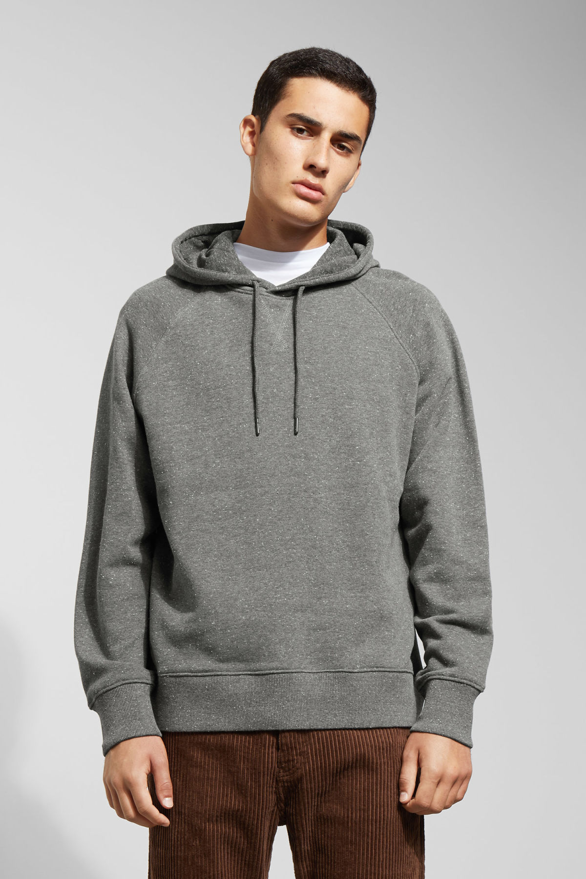 Model front image of Weekday tom neps hoodie in grey