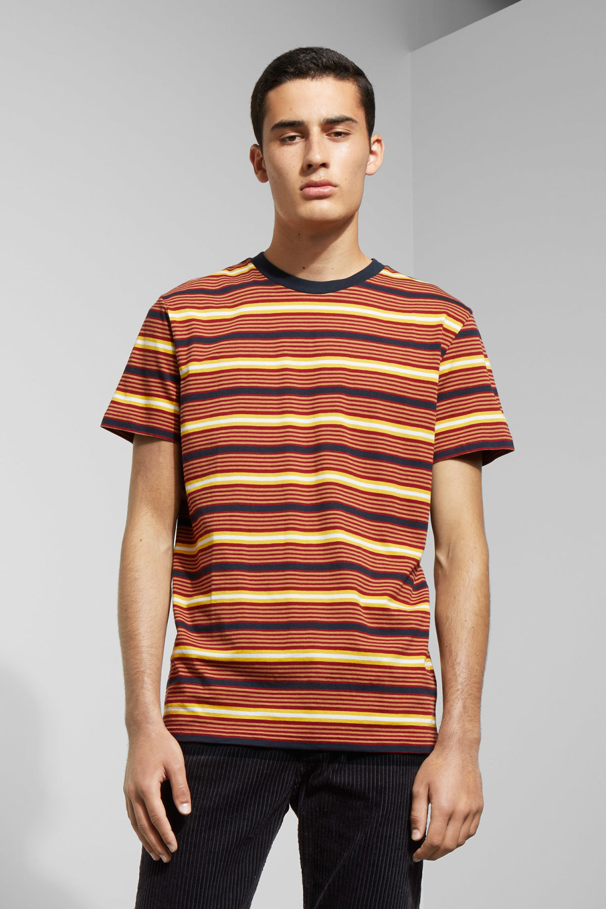 Model front image of Weekday alan stripe t-shirt in red