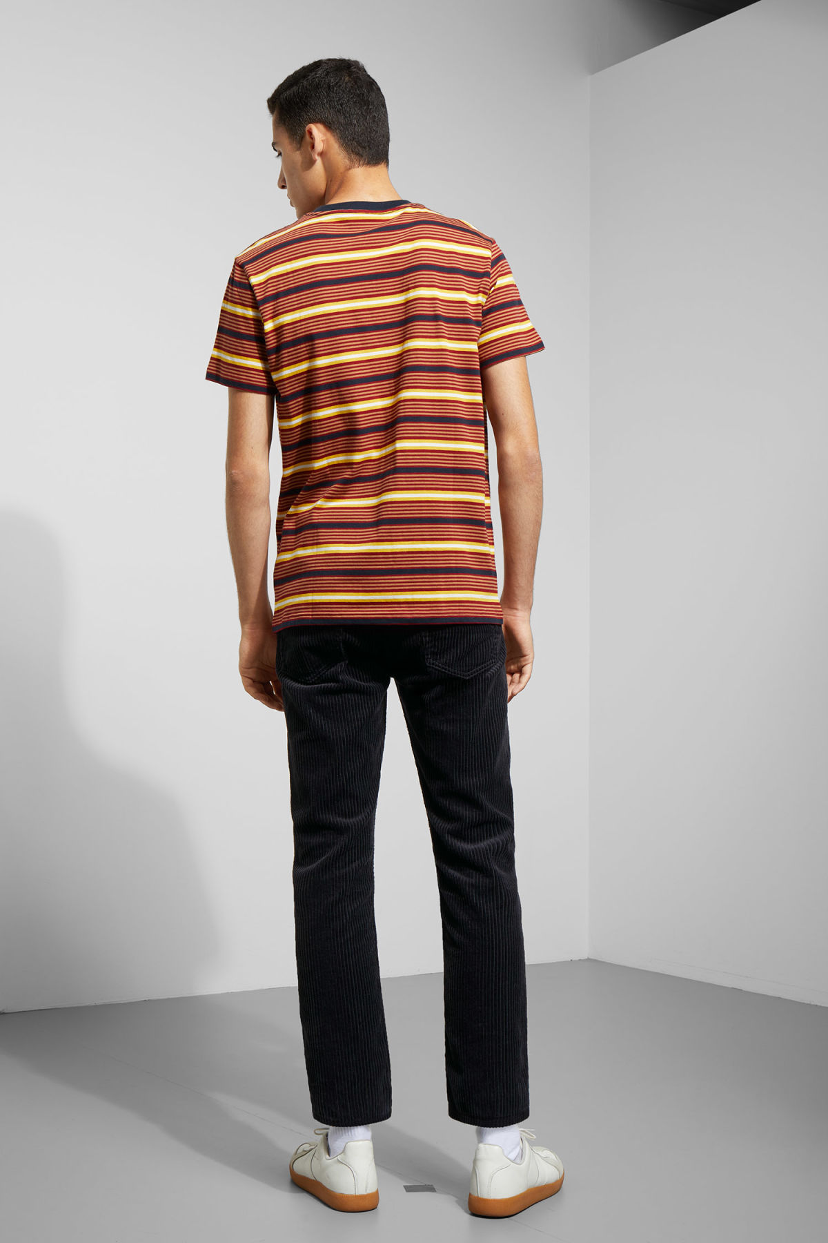 Model back image of Weekday alan stripe t-shirt in red