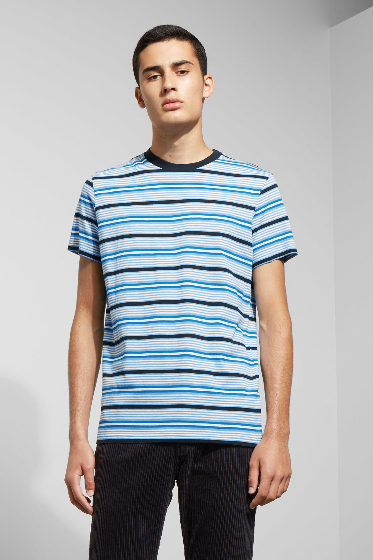 Model front image of Weekday alan stripe t-shirt in blue