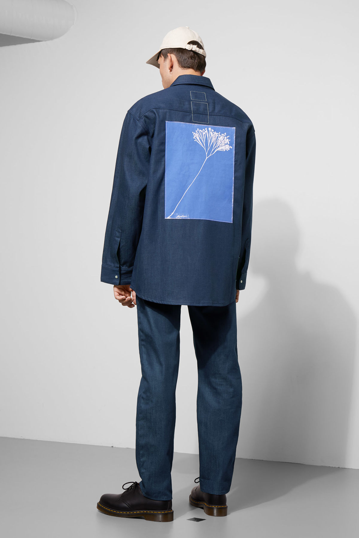 Model side image of Weekday colorado shirt in blue