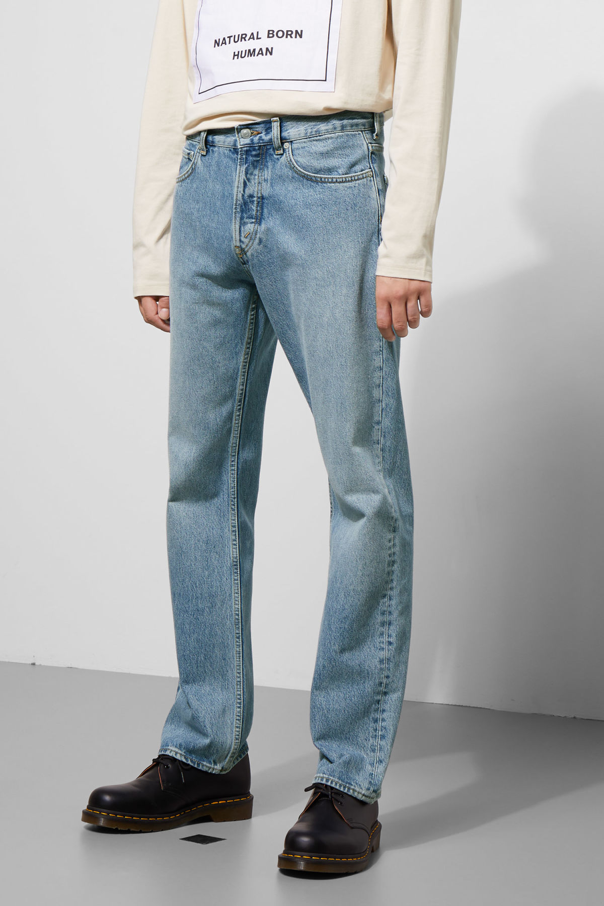 Model side image of Weekday lane washed blue jeans in blue