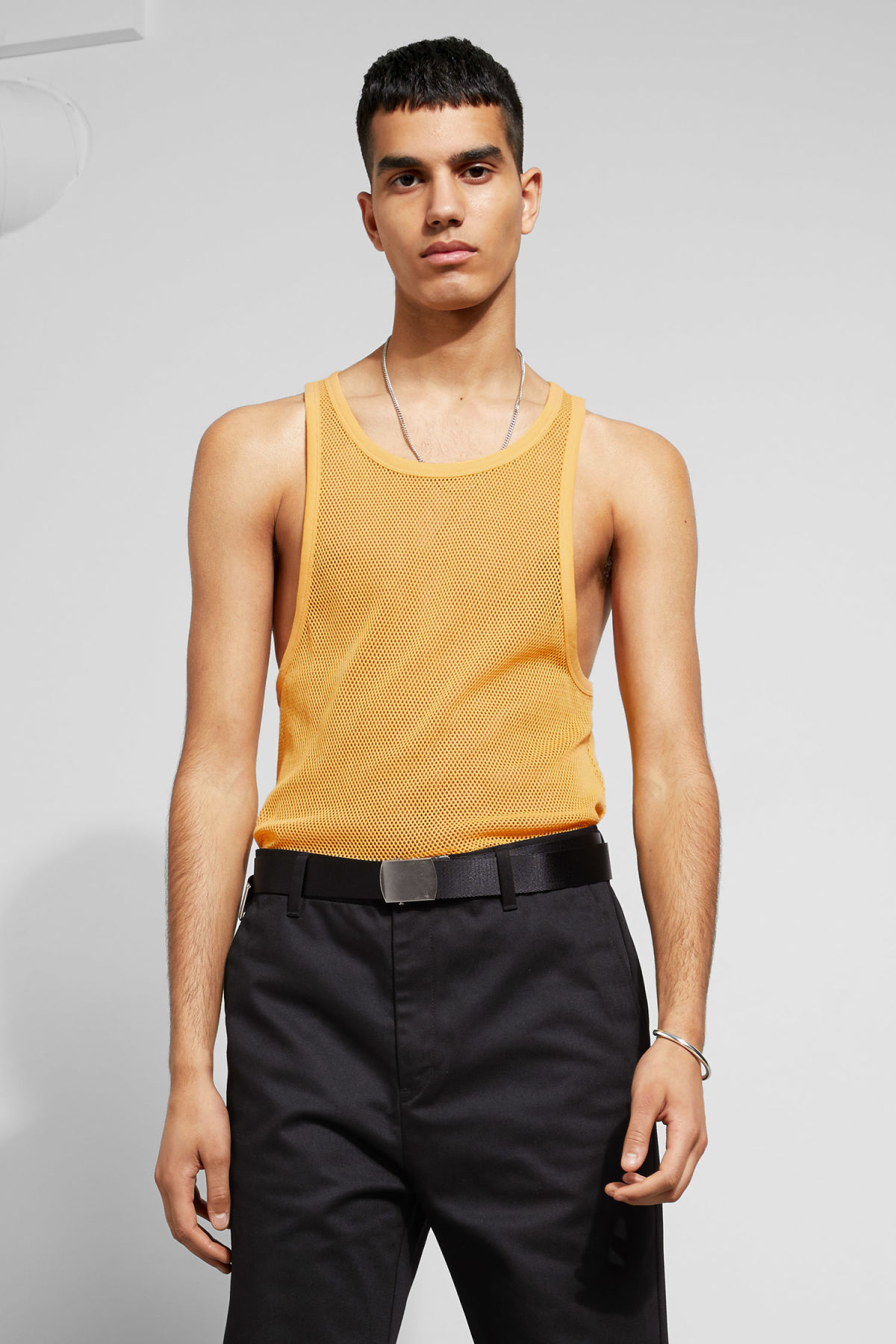 96630baccb2ca Model front image of Weekday tim mesh tank top in yellow