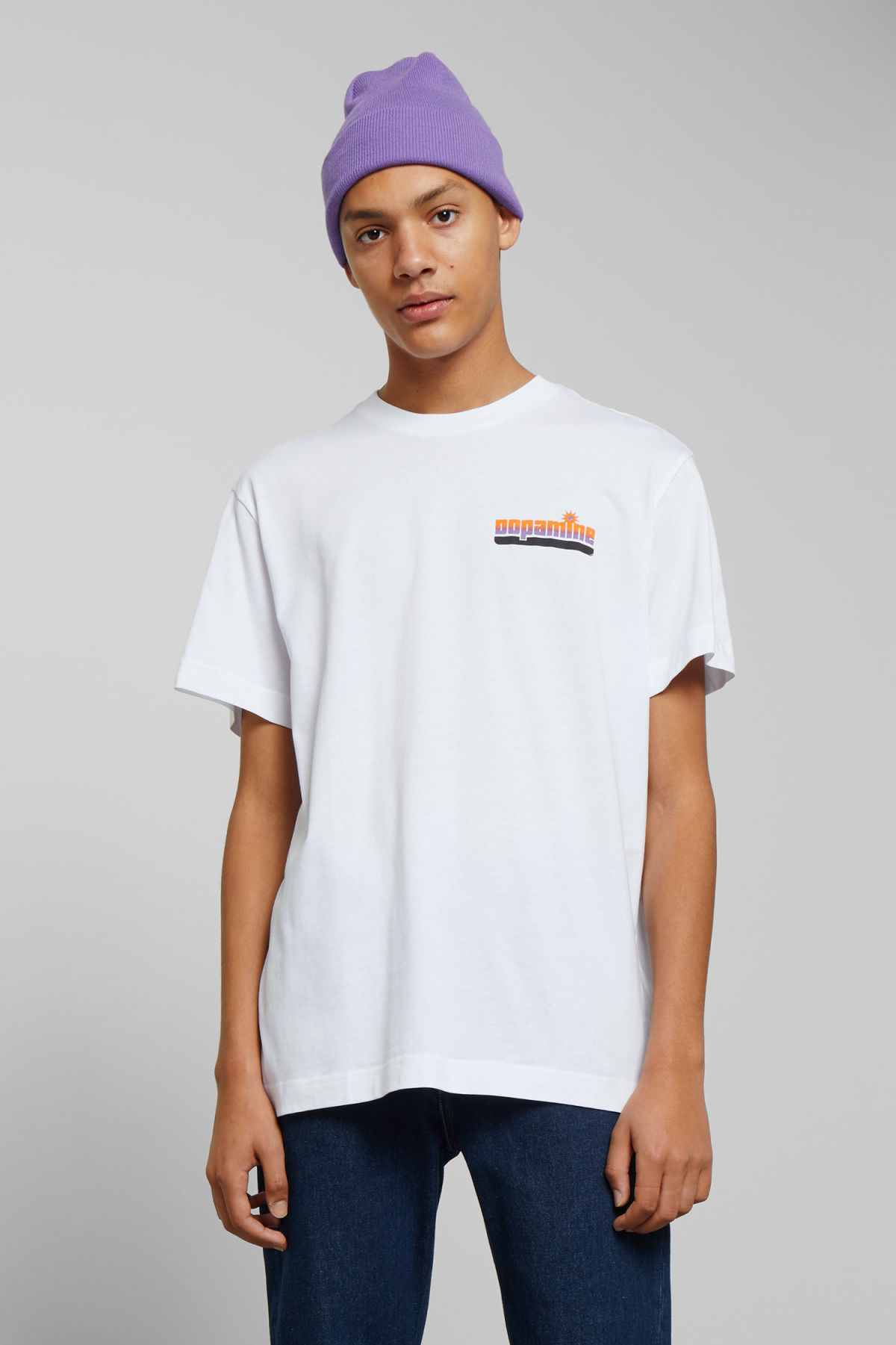 Model front image of Weekday billy dopamine t-shirt  in white