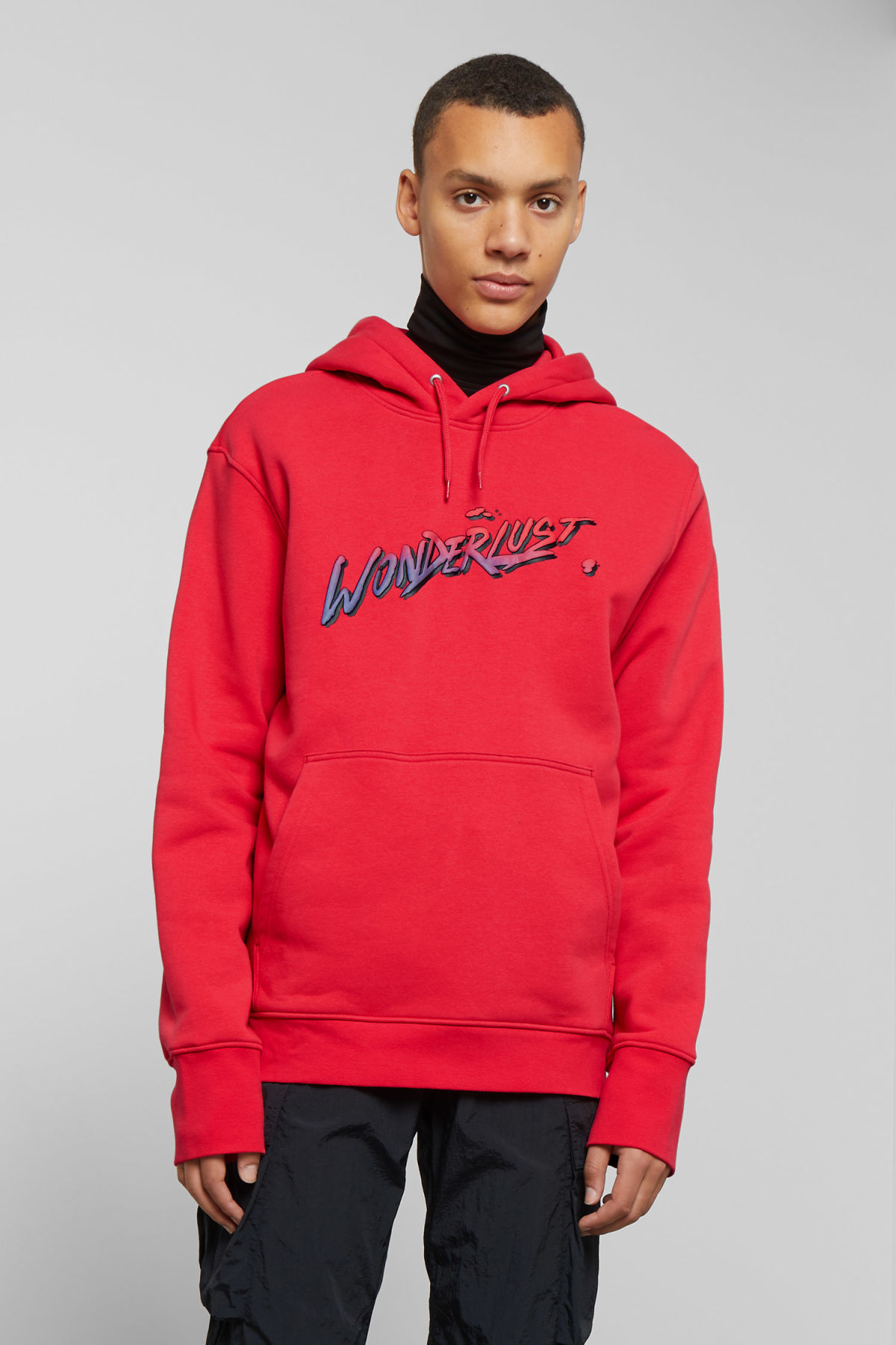 Model front image of Weekday hawk wonderlust hoodie in red