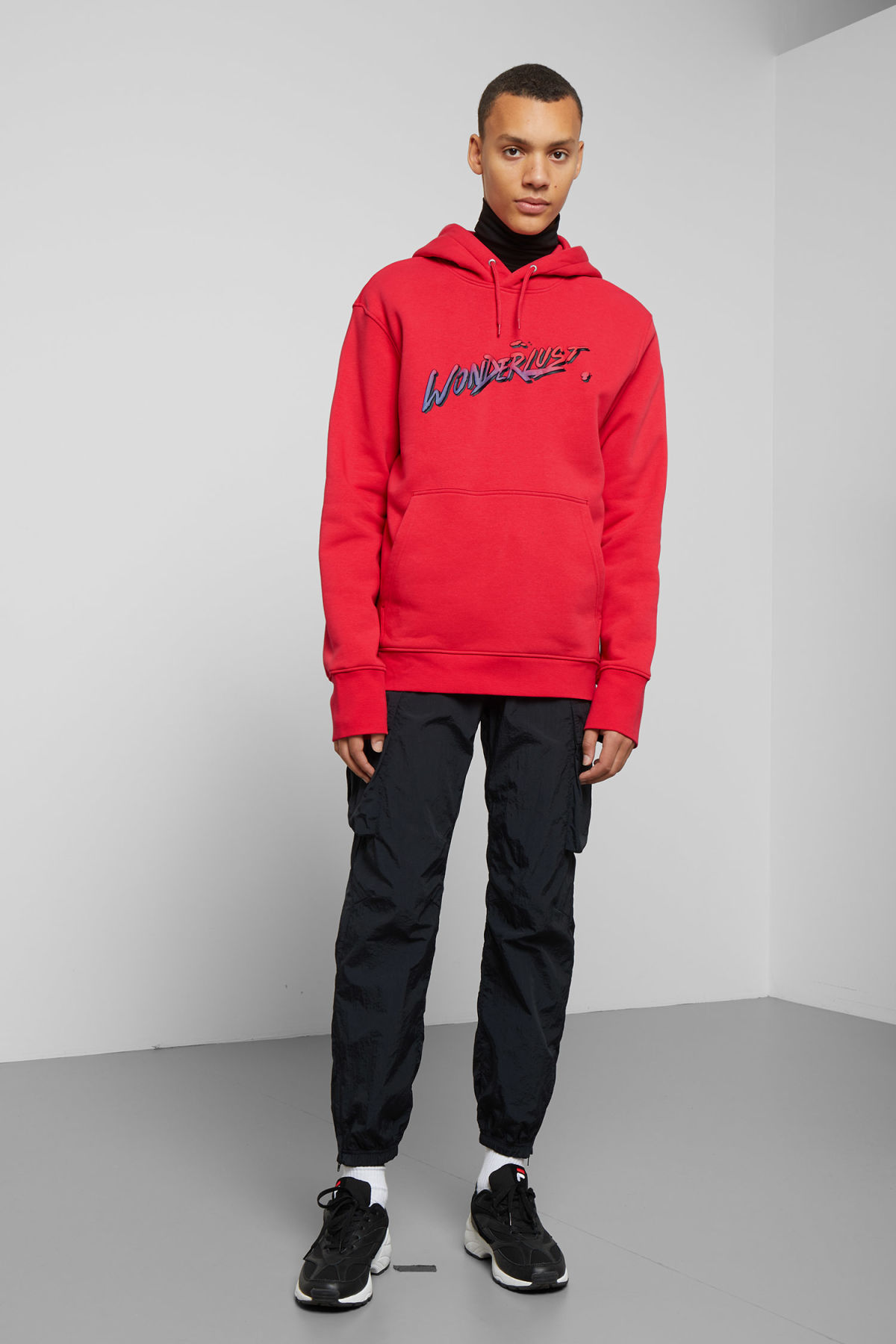 Model back image of Weekday hawk wonderlust hoodie in red