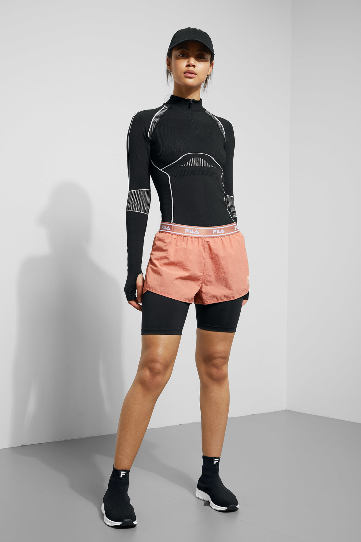 Model front image of Weekday bronte shorts in orange