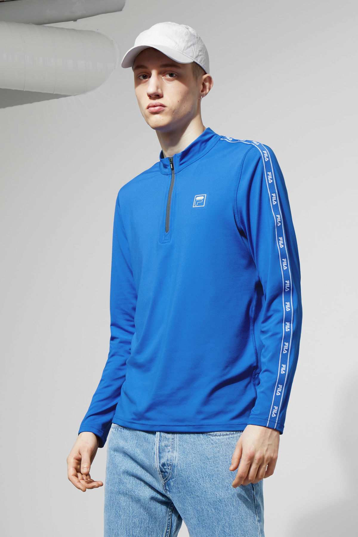 Model front image of Weekday imola zip sweatshirt in blue