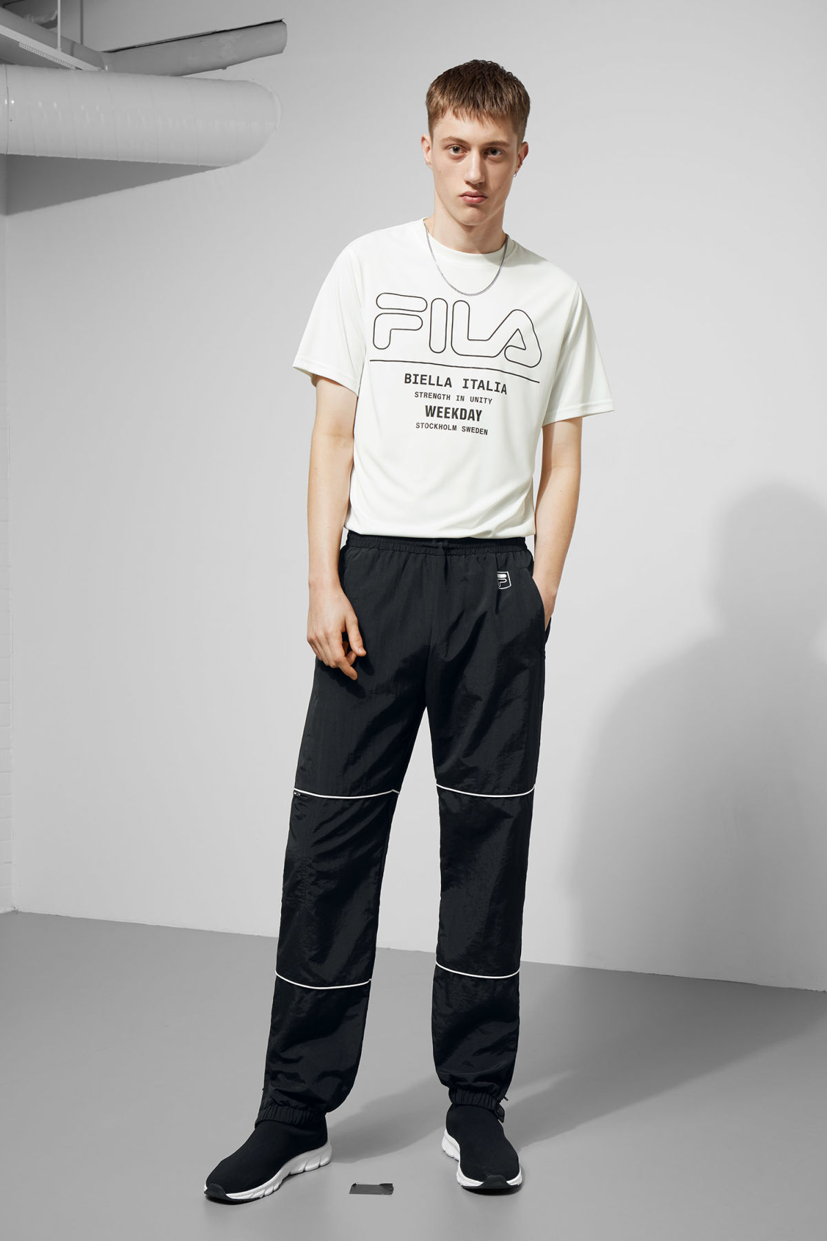 Model front image of Weekday meda joggers in black