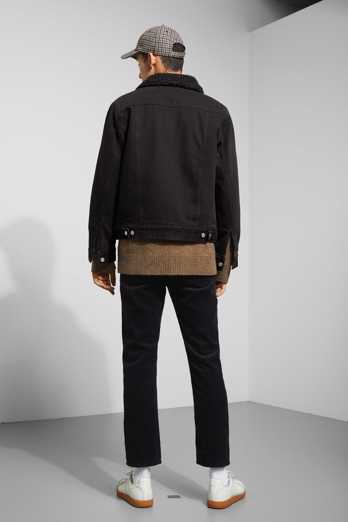 Model back image of Weekday single black pile jacket  in black