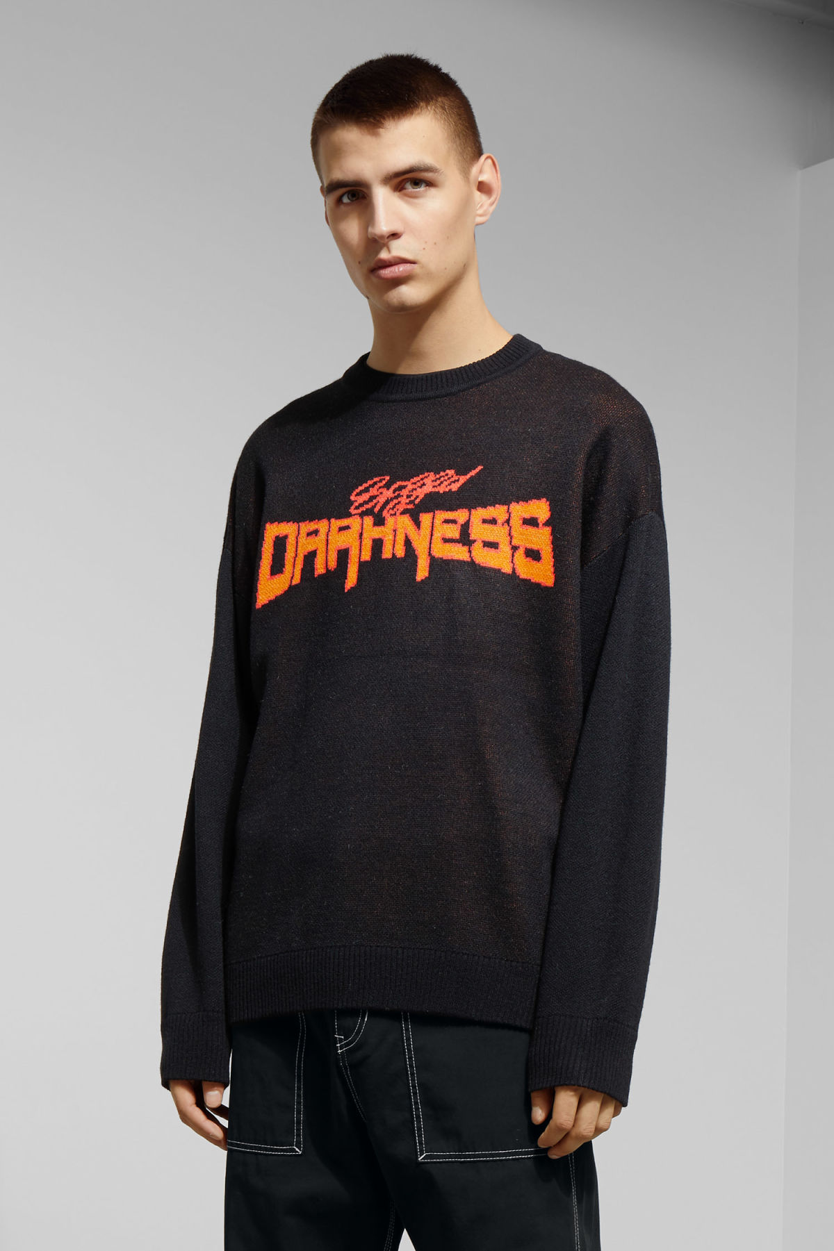 Model front image of Weekday diego jaquard sweater in black