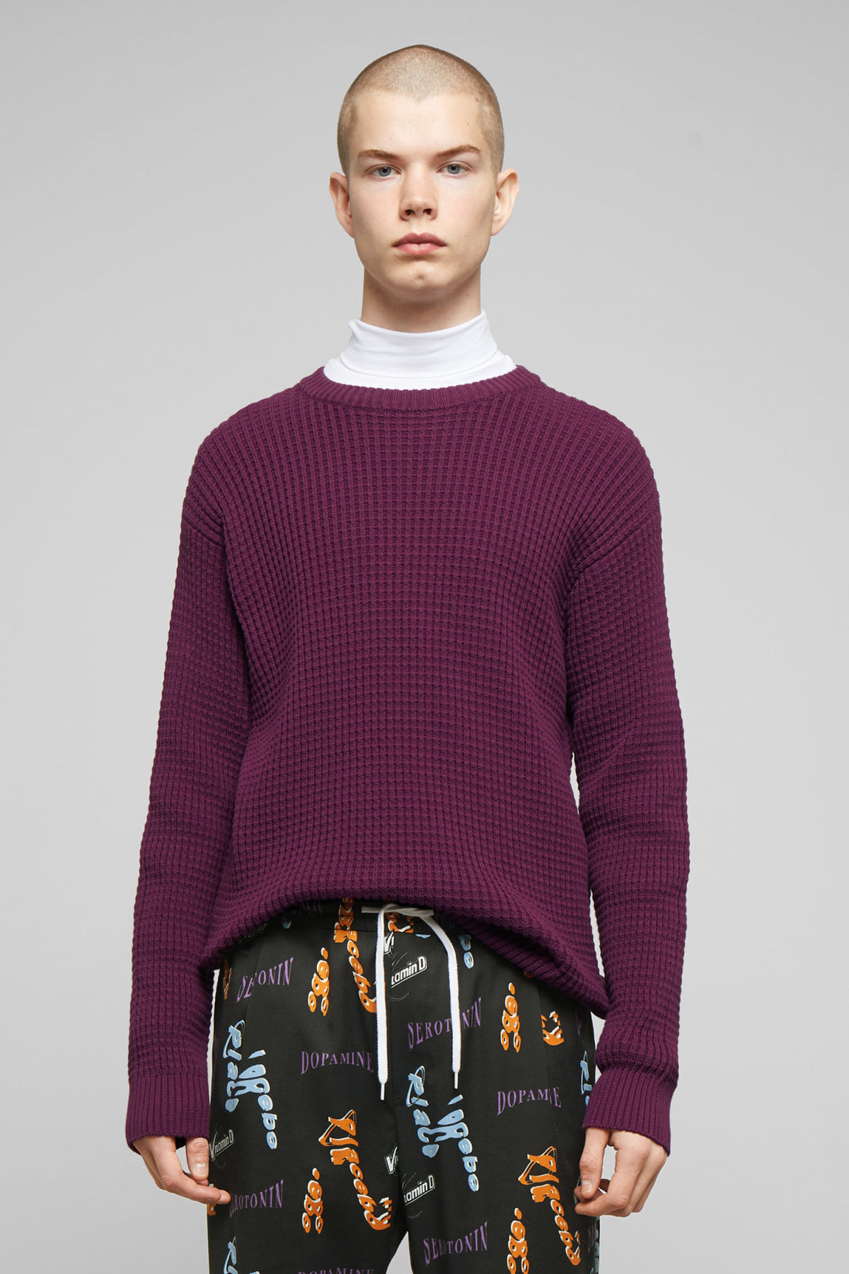 Model front image of Weekday smyth waffle sweater in purple
