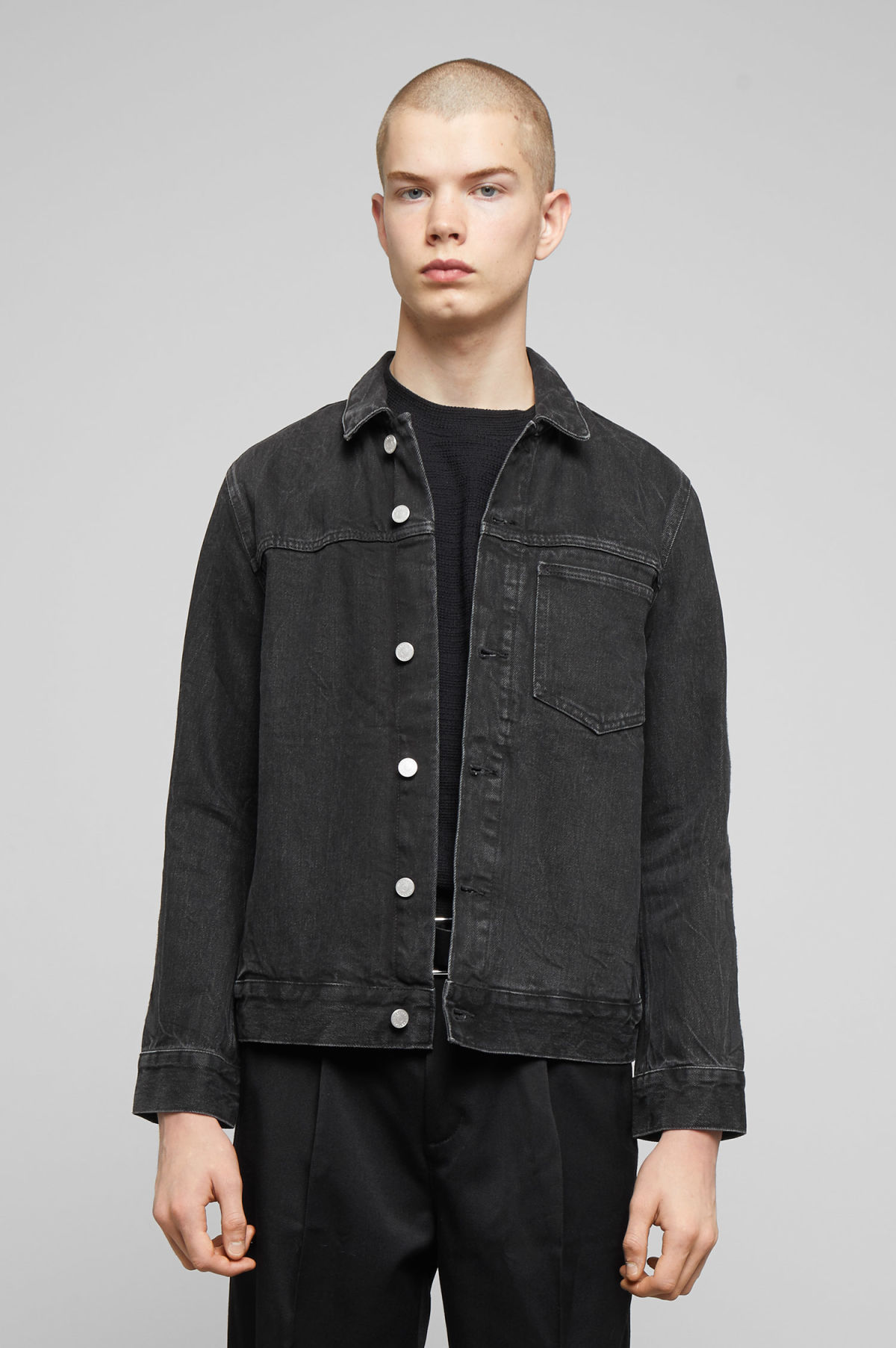Model front image of Weekday core rodeo black jacket in black