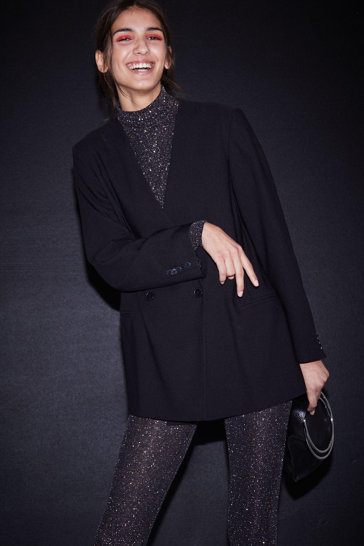 Model front image of Weekday jade blazer in black