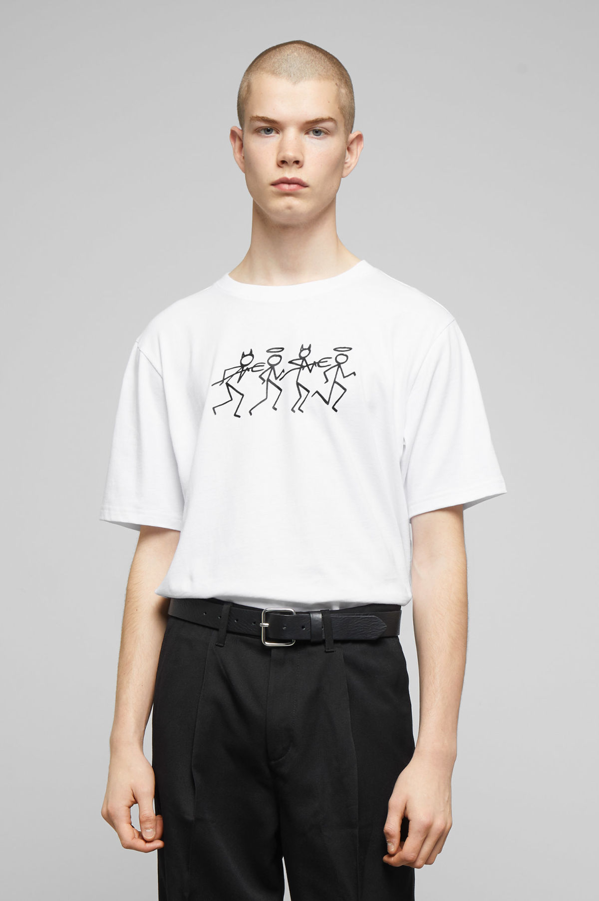 Model front image of Weekday frank stick t-shirt in white