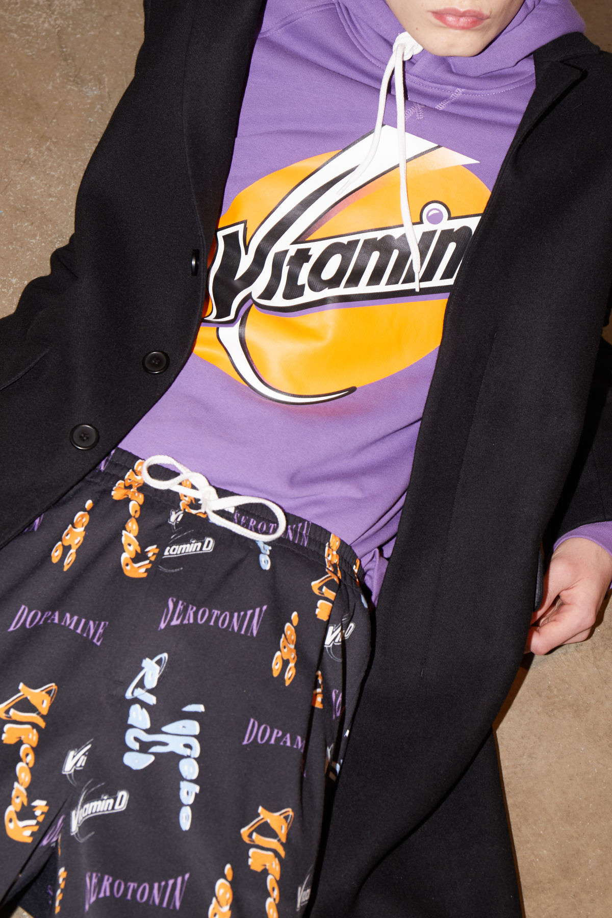 Model front image of Weekday tom vitamine d hoodie in purple