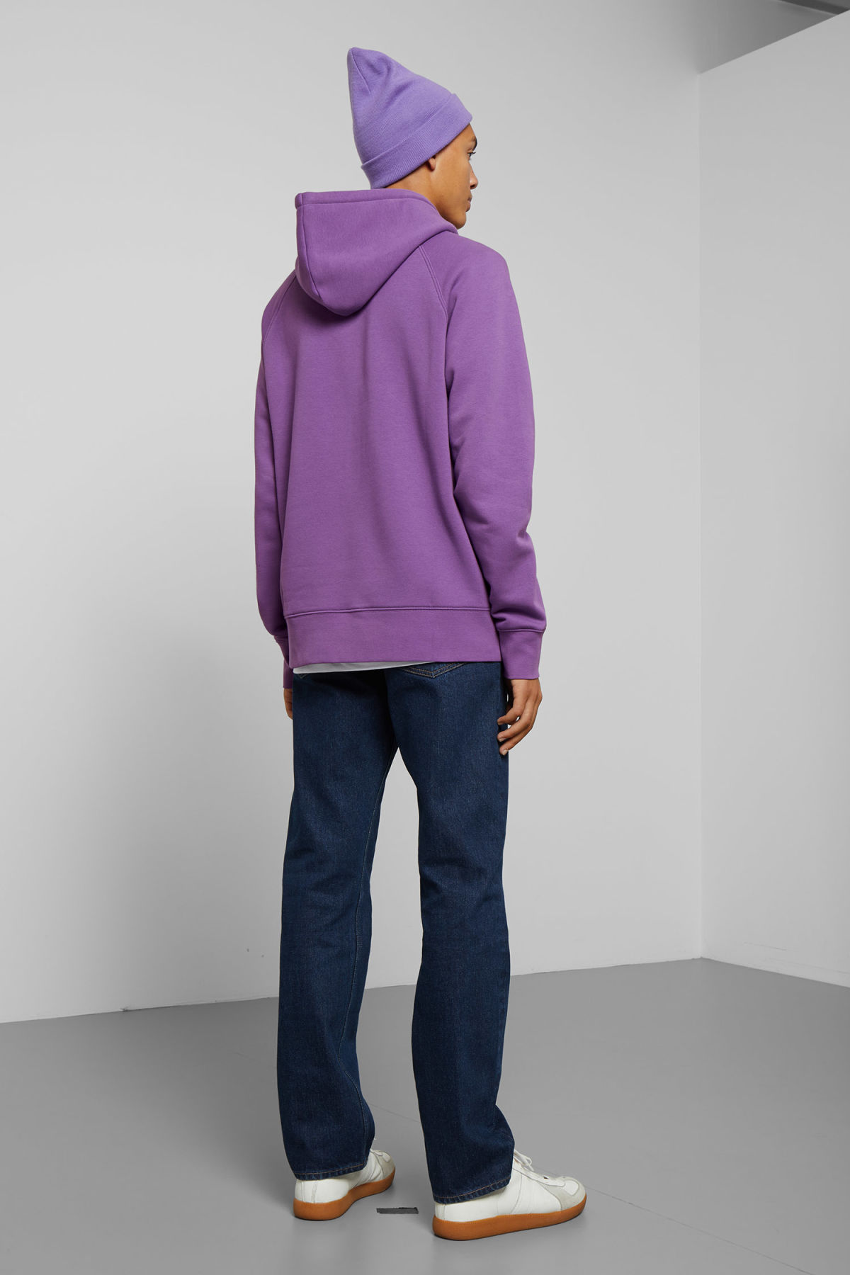 Model side image of Weekday tom vitamine d hoodie in purple