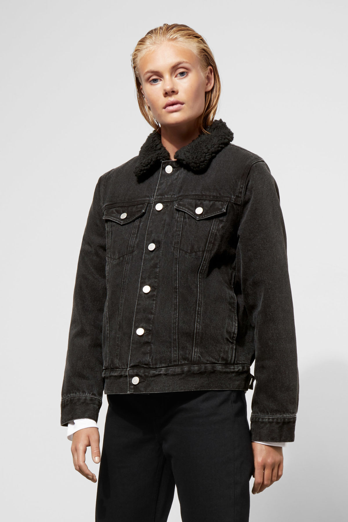 Model front image of Weekday single black pile jacket  in black