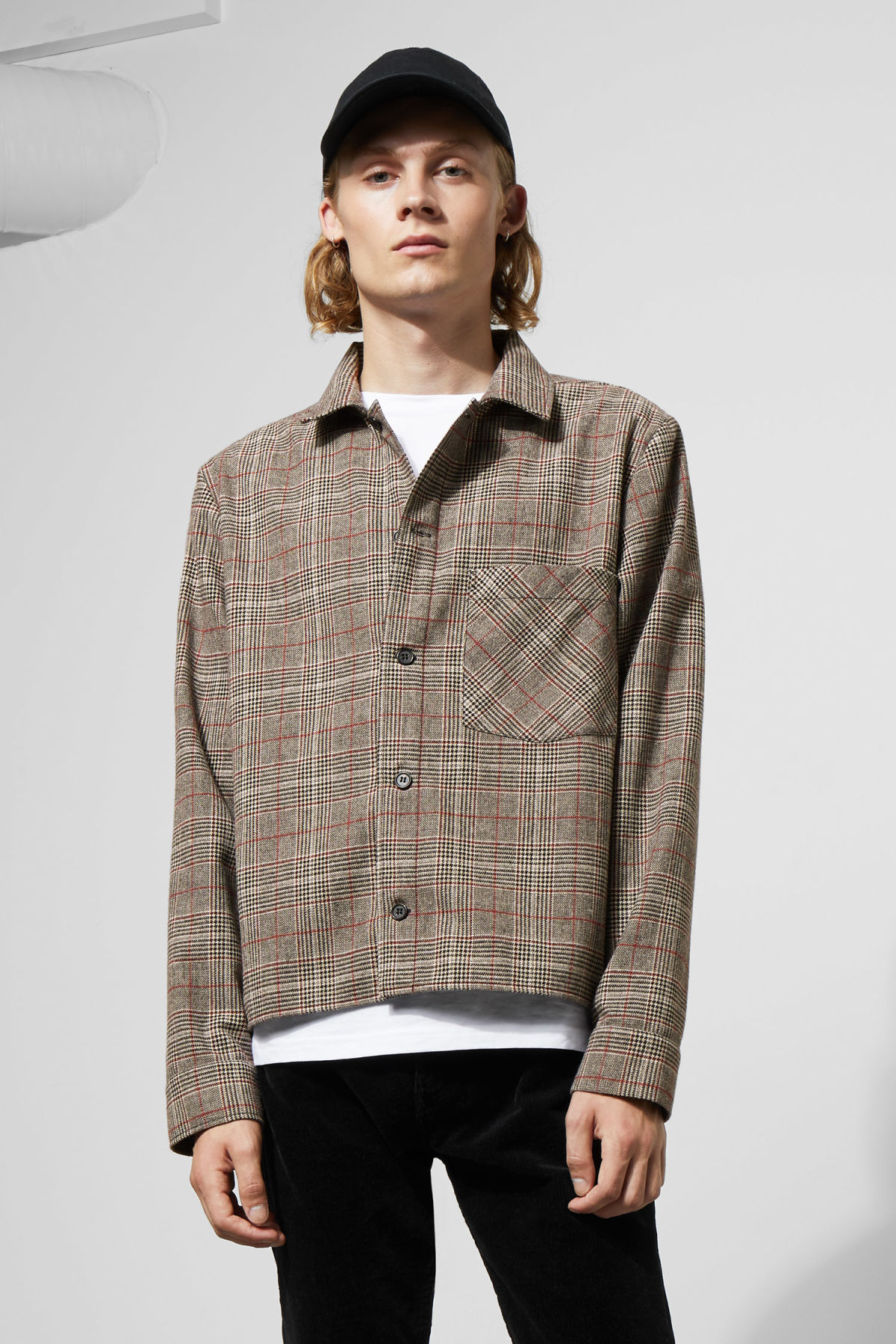 Model front image of Weekday chuck checked shirt in black