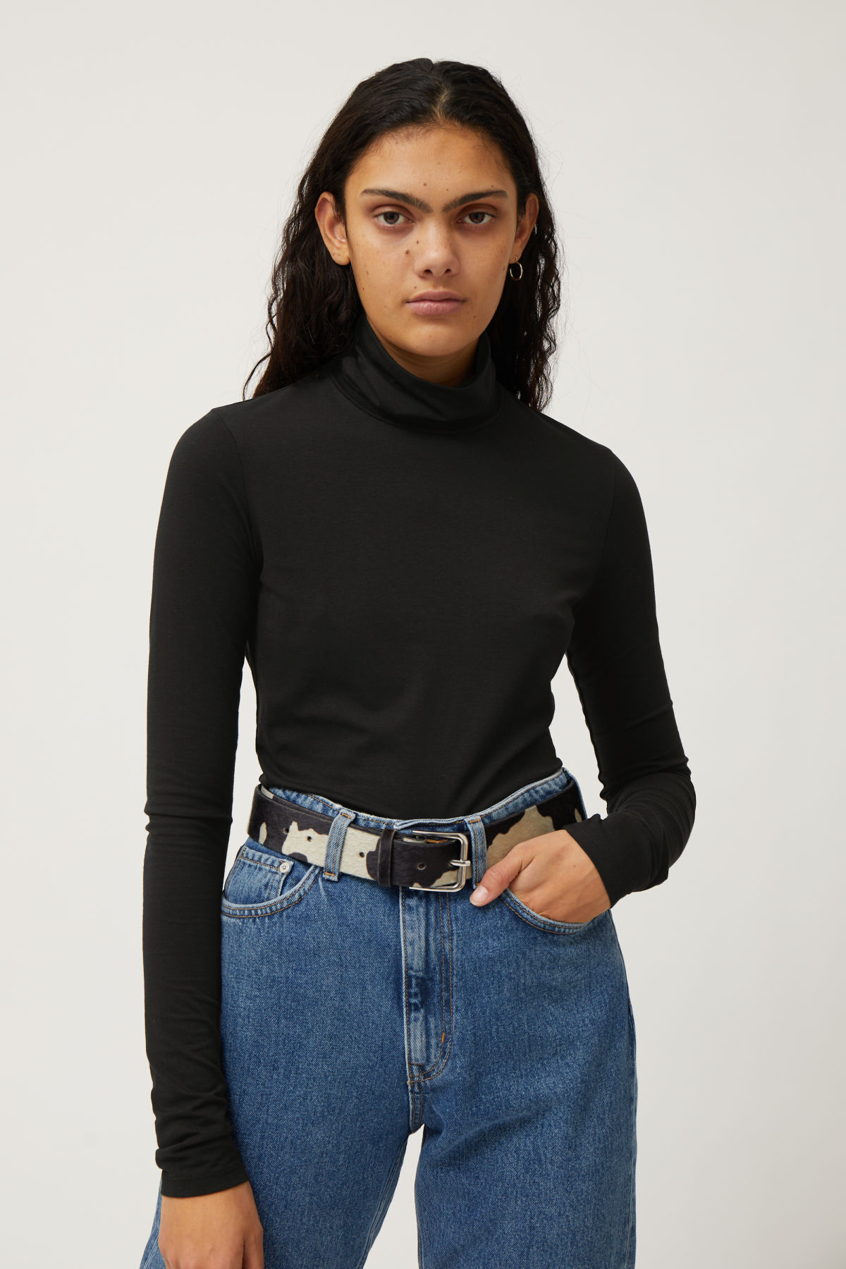 Lookbook Front Image of Weekday Chie Turtleneck in Black