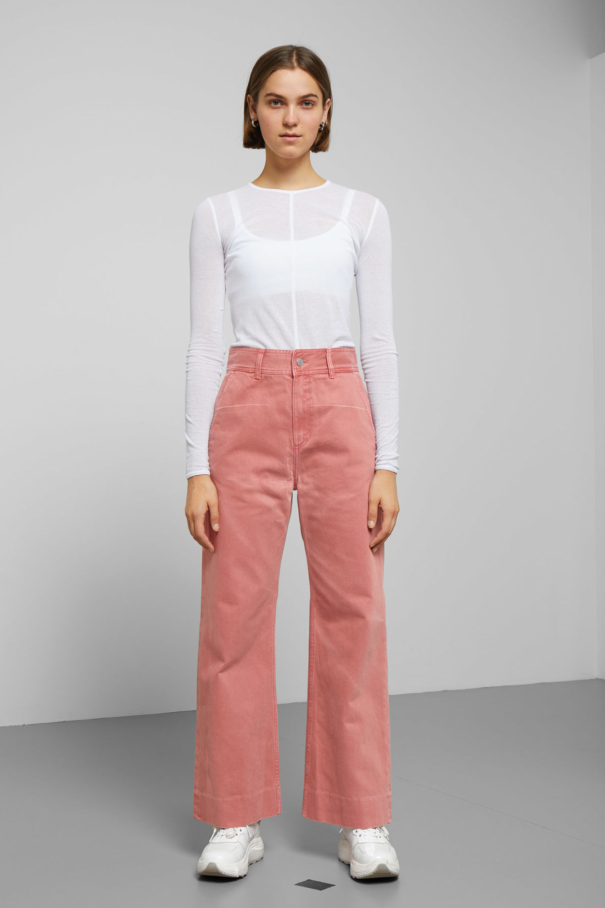 Model front image of Weekday cory rose denim trousers in orange