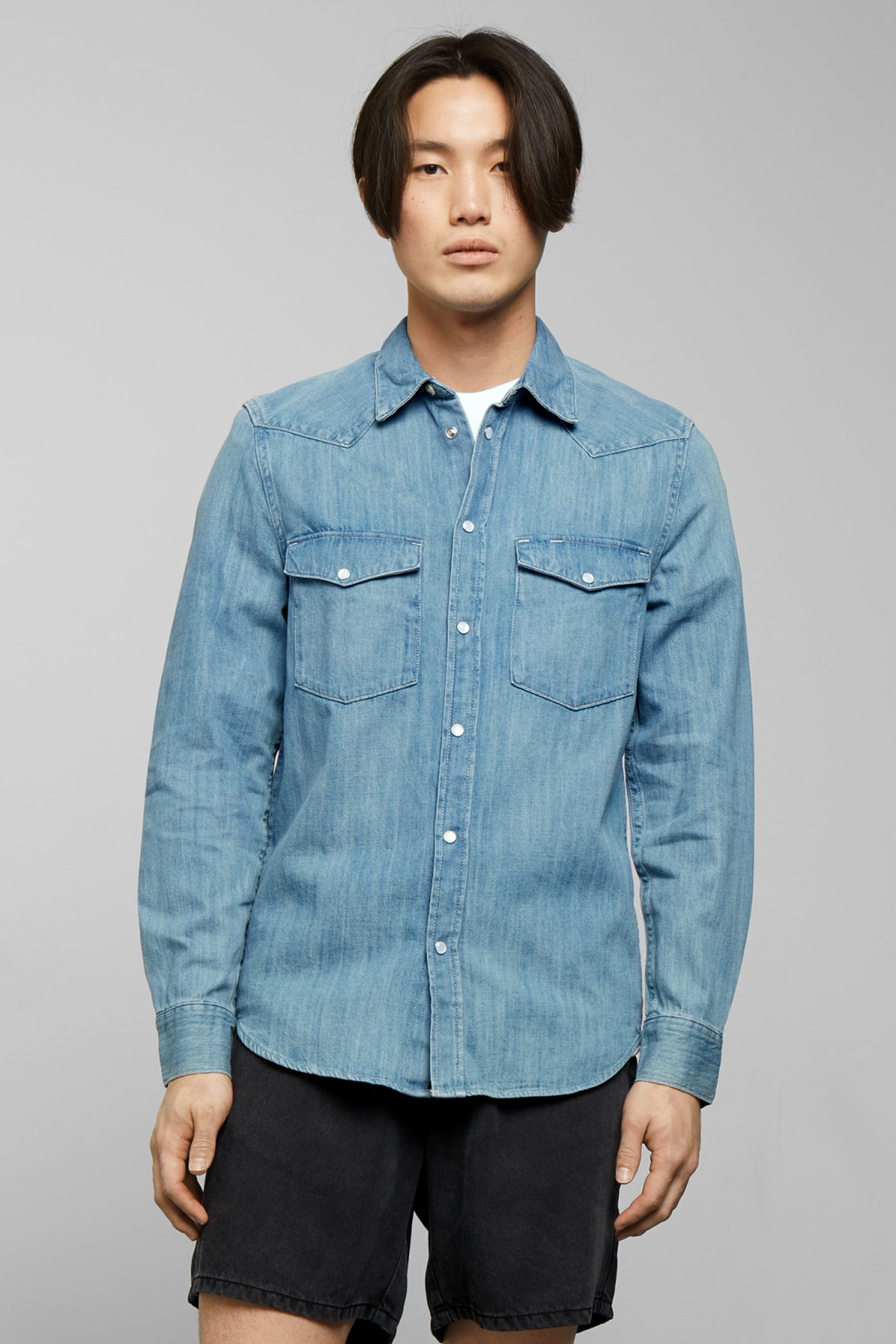 Model front image of Weekday lucky rodeo blue denim shirt in blue