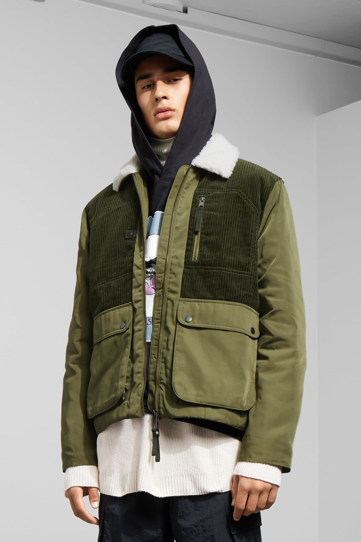 Model front image of Weekday barwa jacket in green