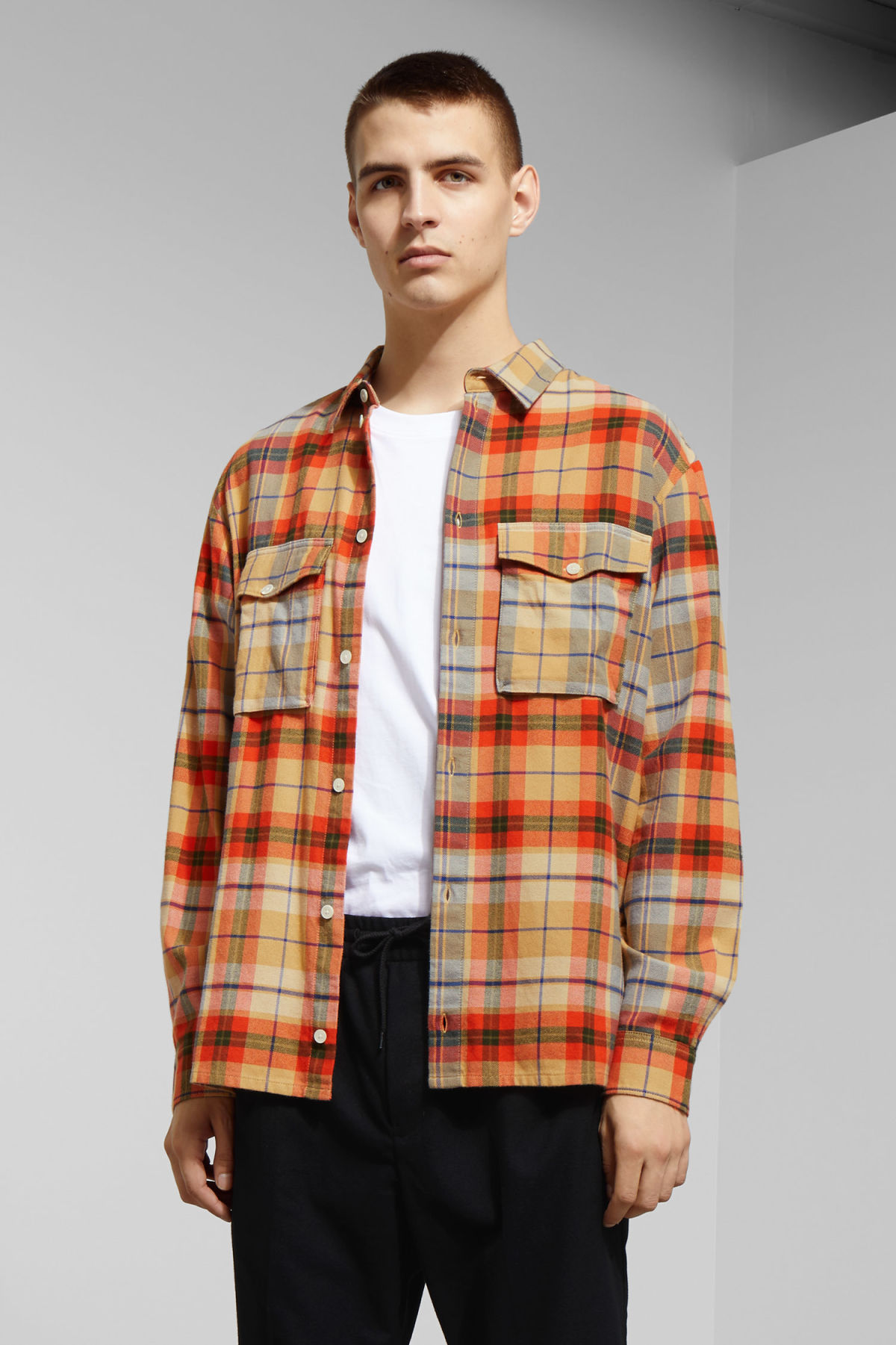 Model front image of Weekday kula checked shirt in beige