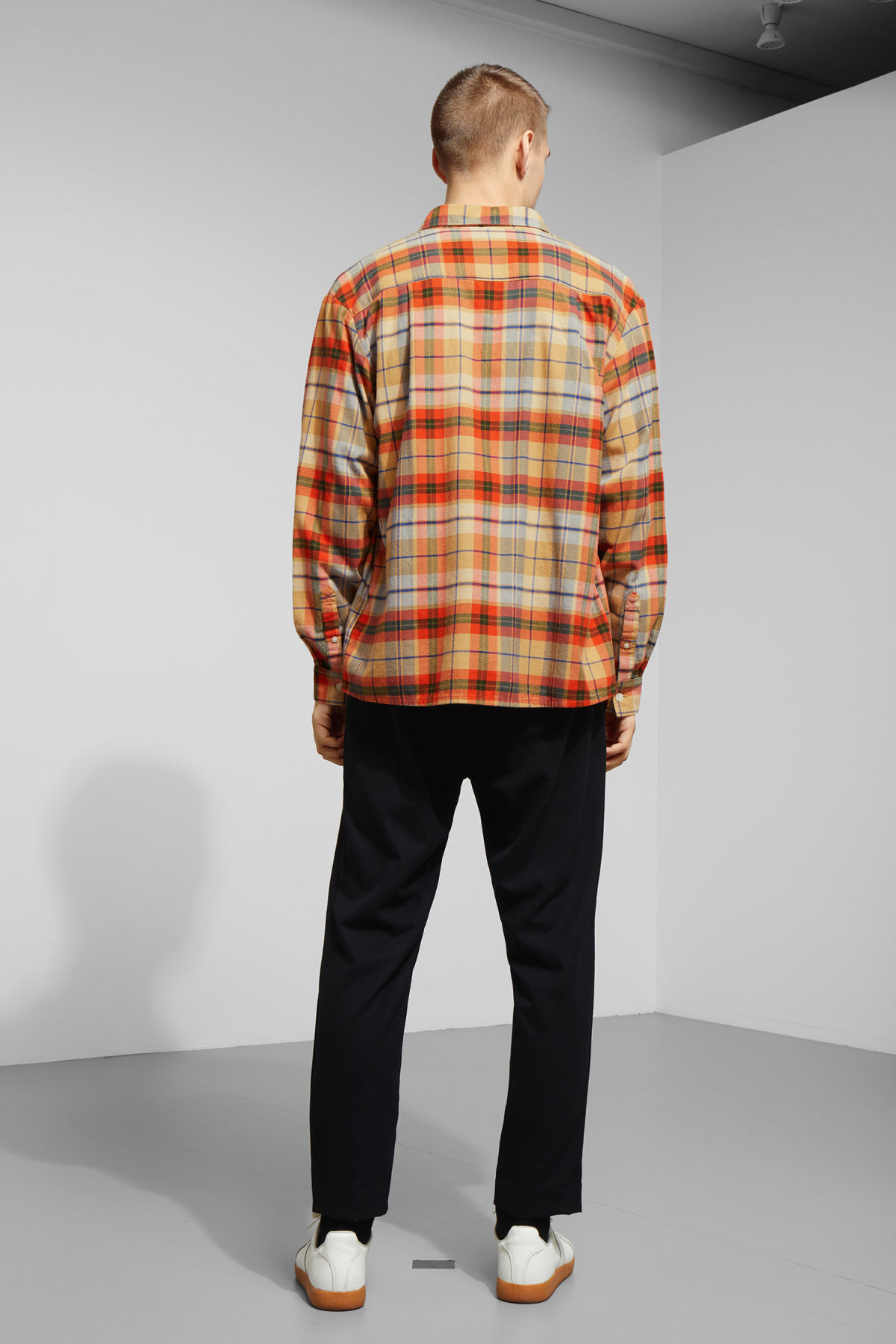Model back image of Weekday kula checked shirt in beige