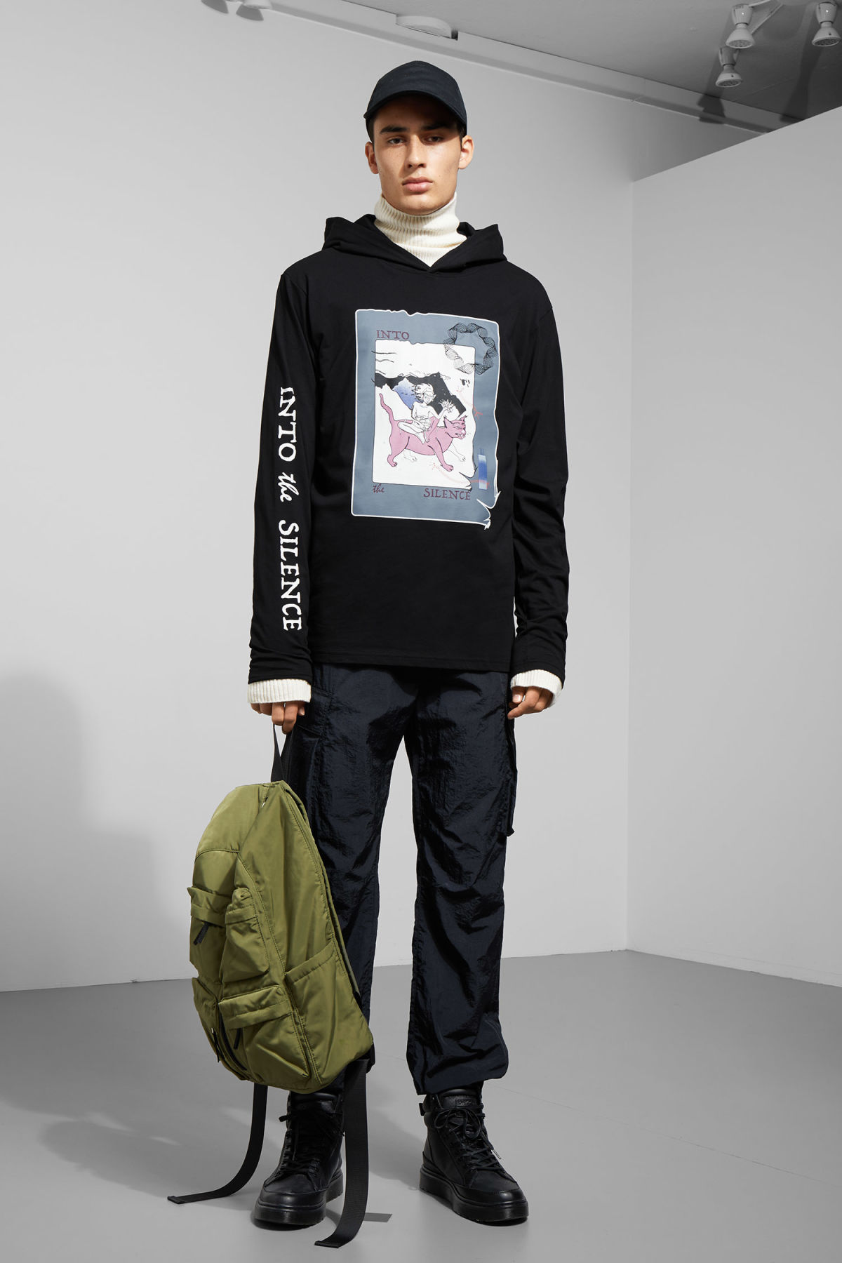 Model side image of Weekday manaslu silence hoodie in black