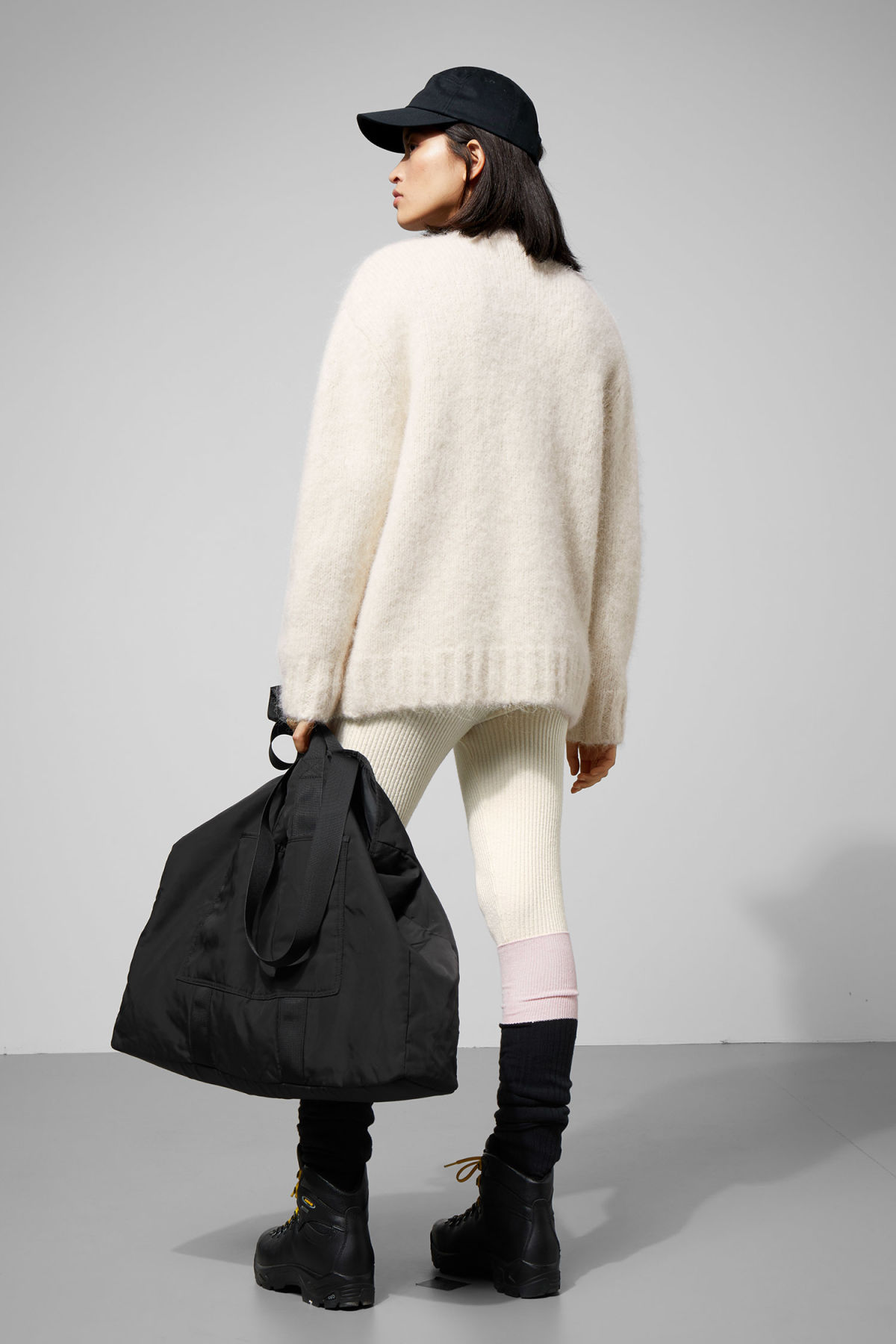 Model side image of Weekday lhotse cardigan in beige