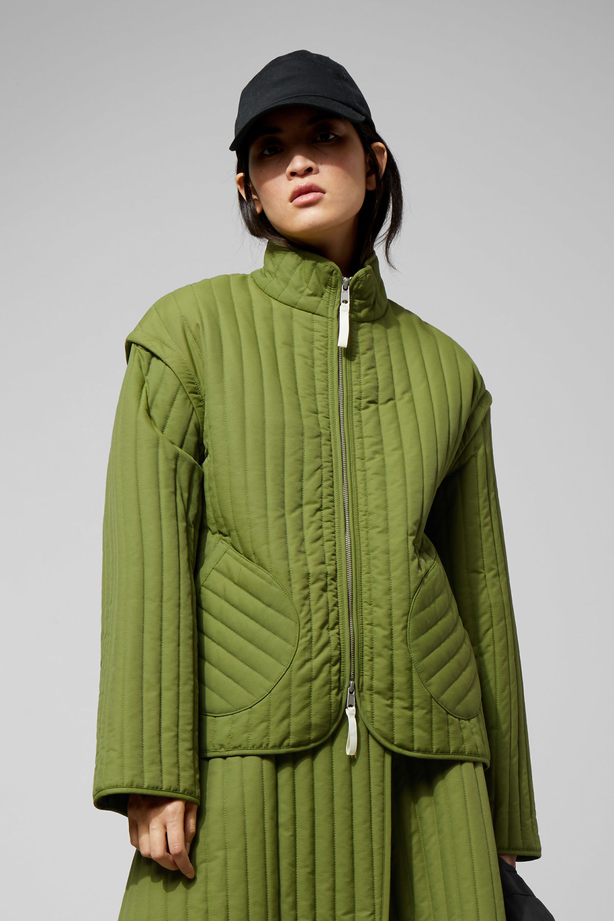 Model front image of Weekday nilgiri quilted jacket in green
