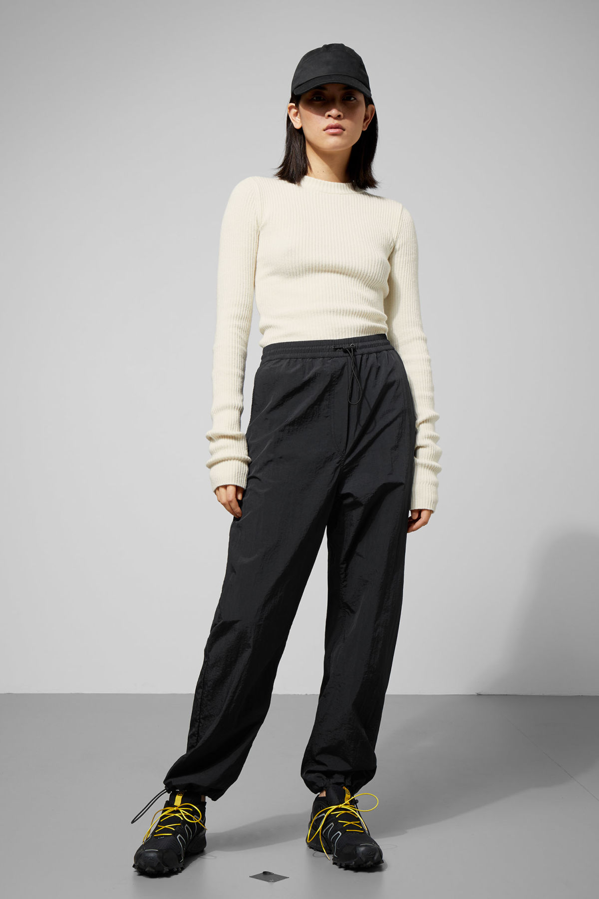 Model front image of Weekday api trousers in black
