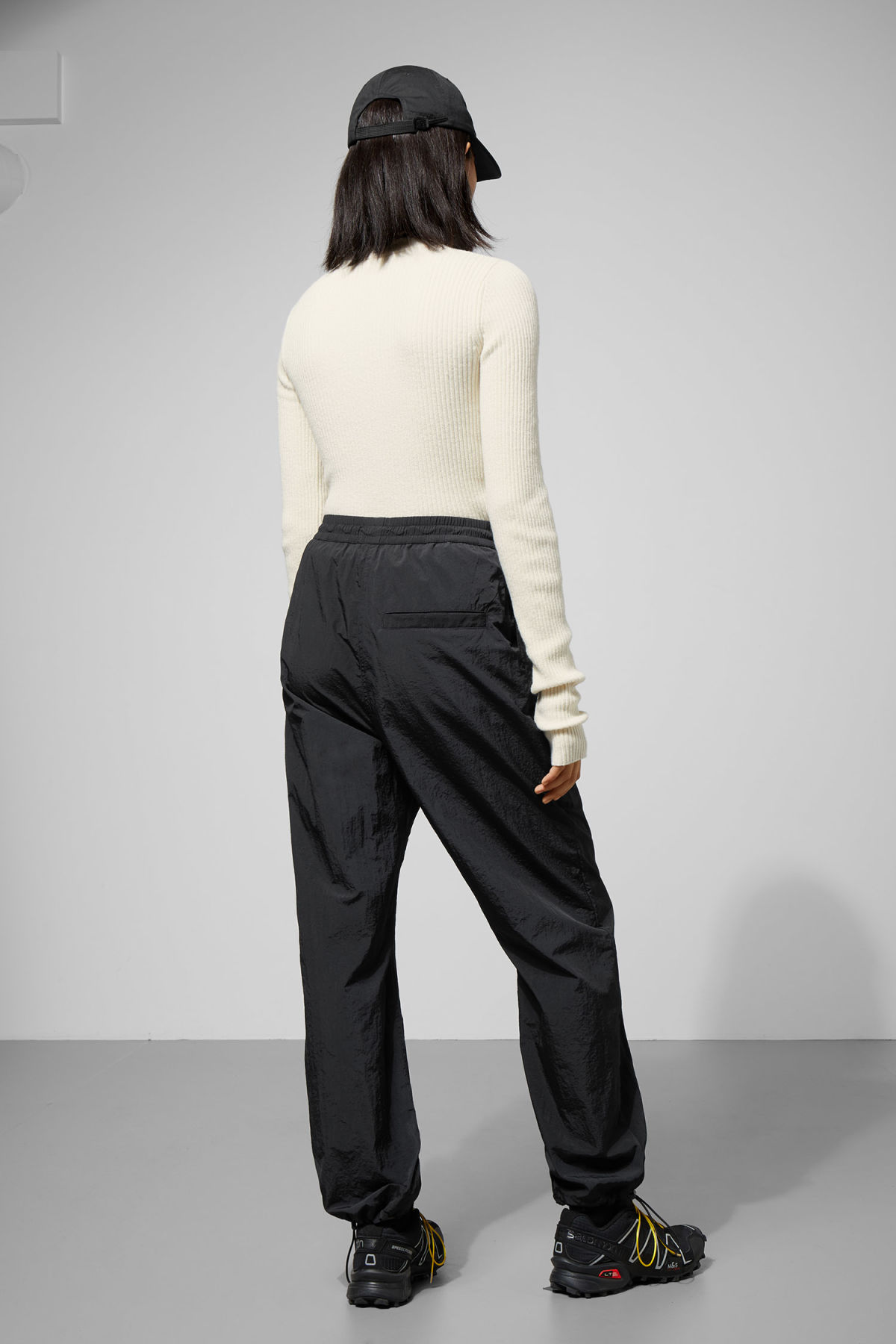 Model back image of Weekday api trousers in black