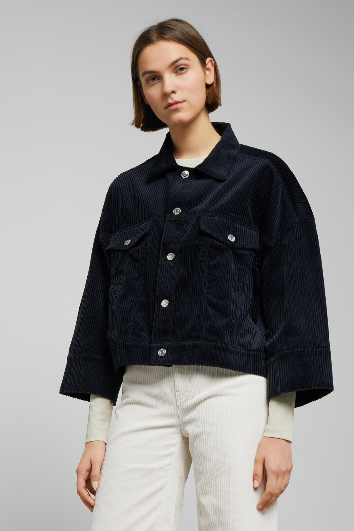 Model front image of Weekday tempera cord jacket in blue