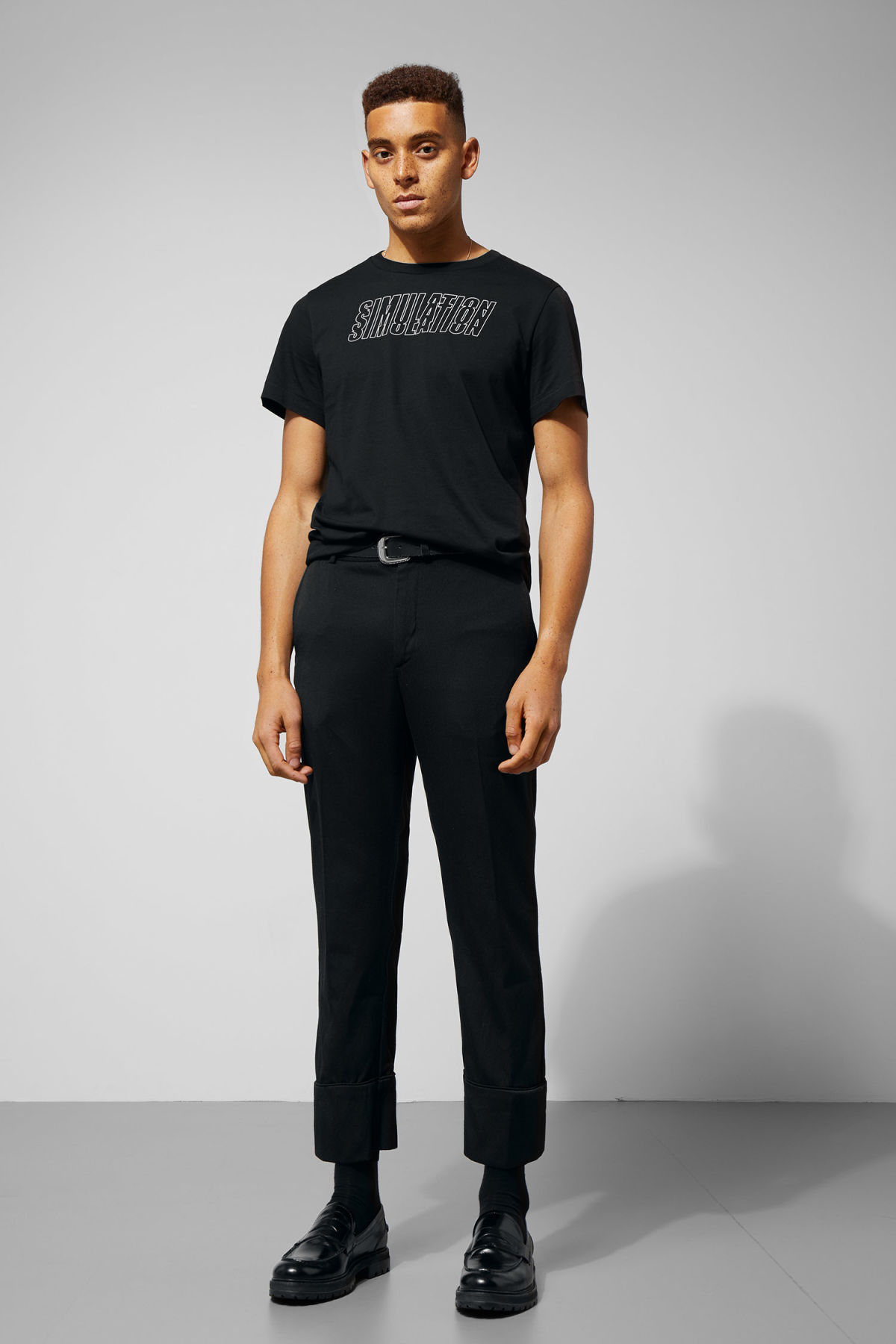 Model front image of Weekday piccolo trousers in black