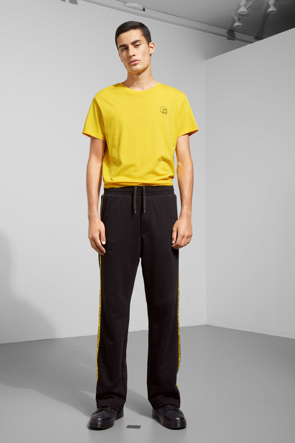 Model front image of Weekday fast logo trousers in black