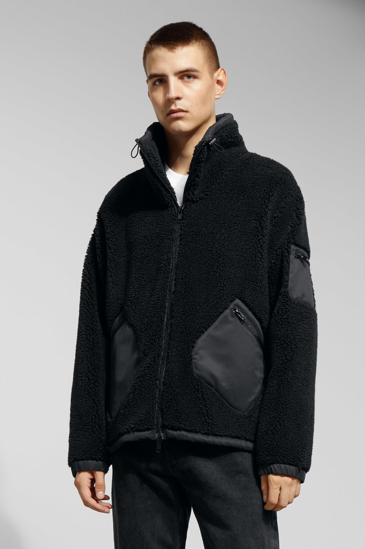 Model front image of Weekday hick pile jacket in black