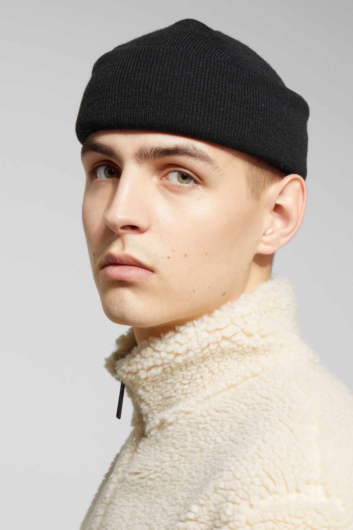Model front image of Weekday hero knit beanie in black