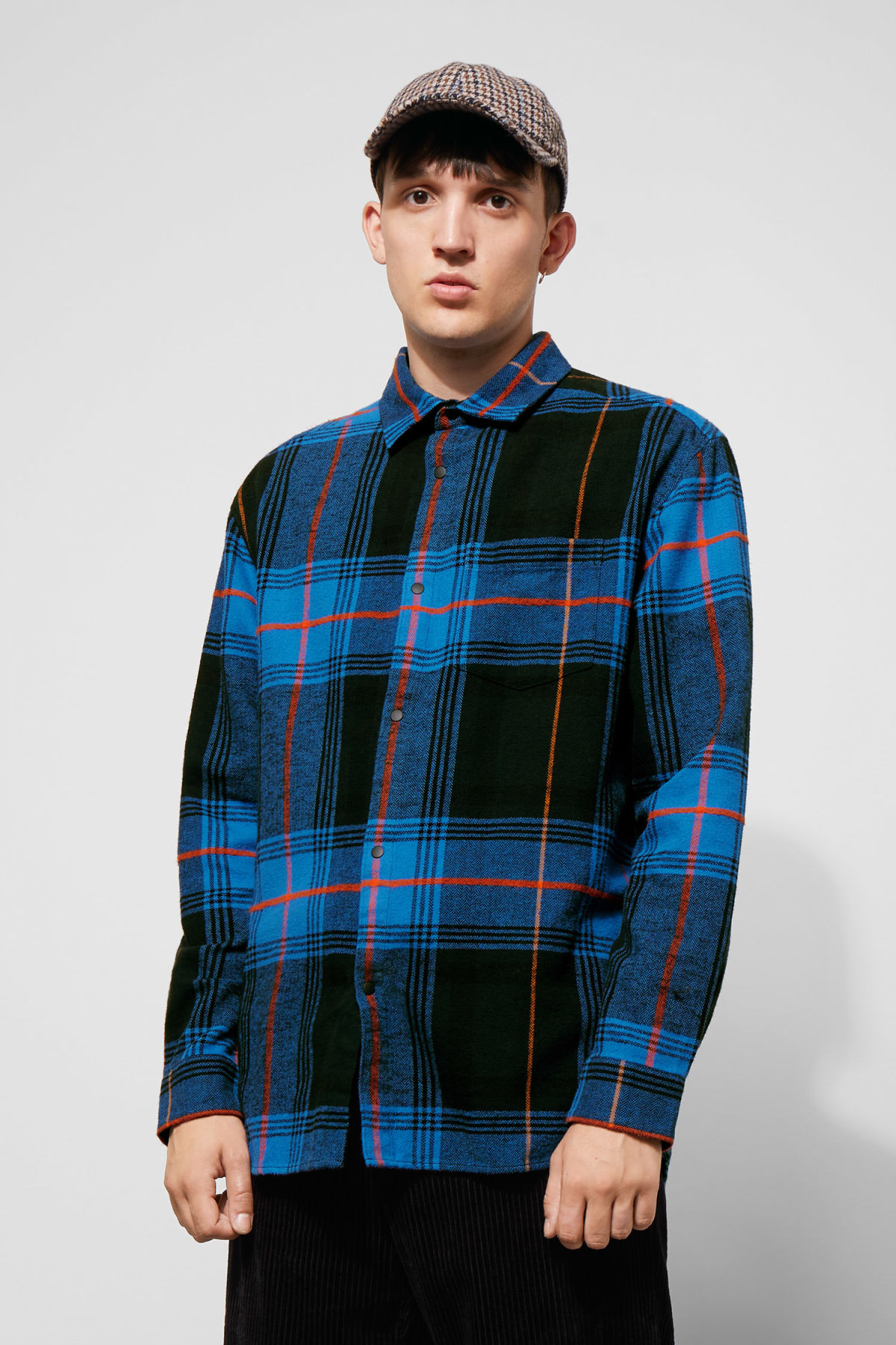 Model front image of Weekday lumber herringbone shirt in blue