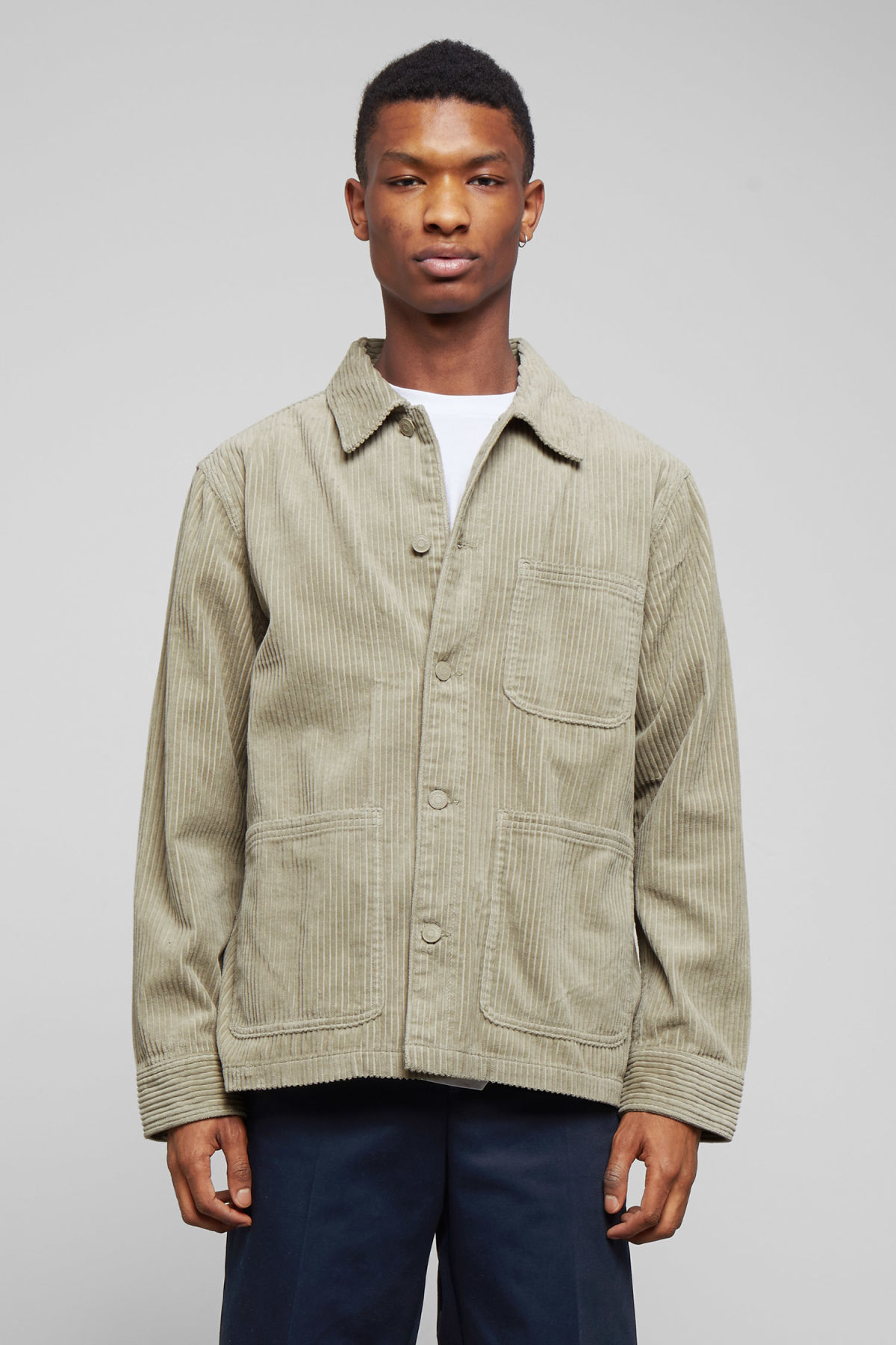 Model front image of Weekday josh cord jacket in green