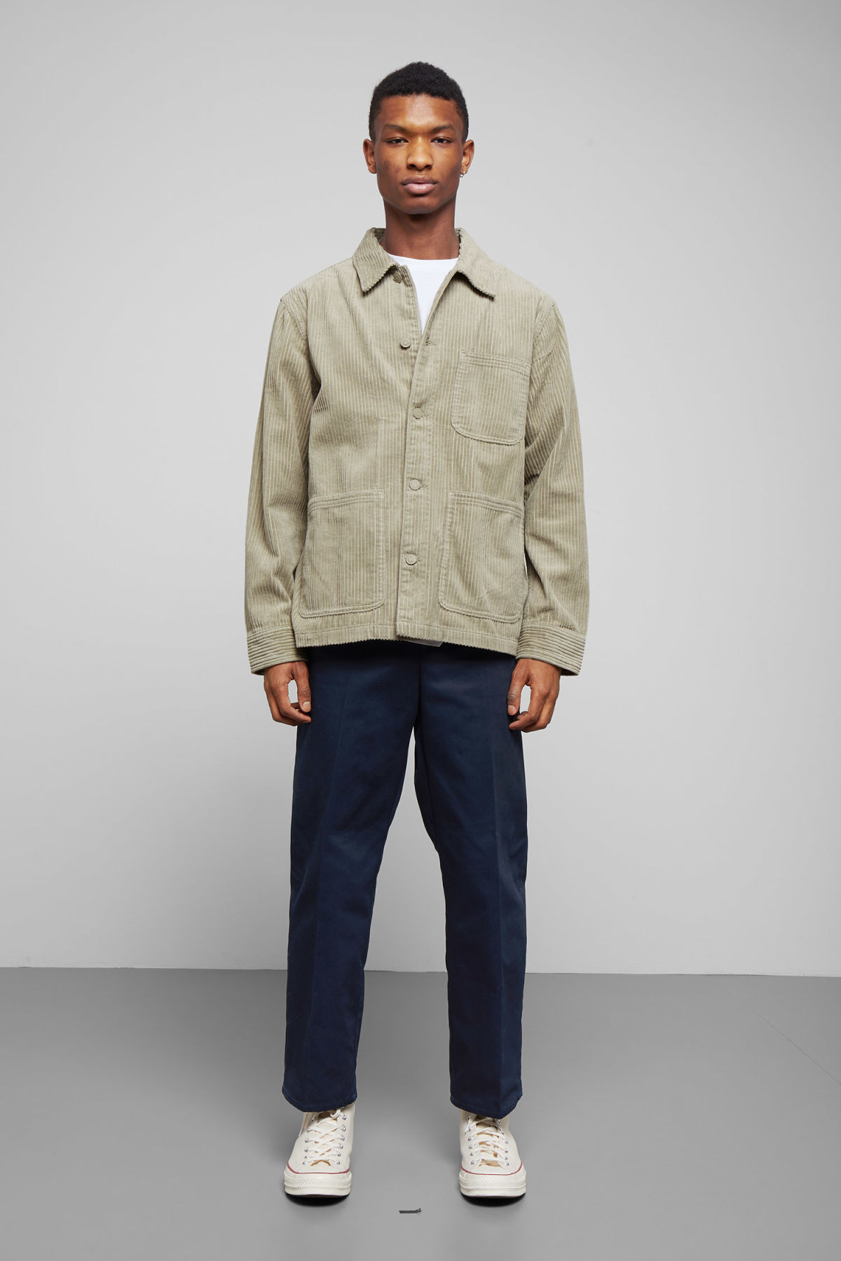 Model side image of Weekday josh cord jacket in green