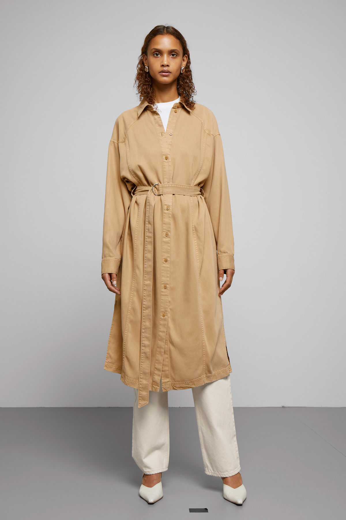 Model front image of Weekday briony dress in beige
