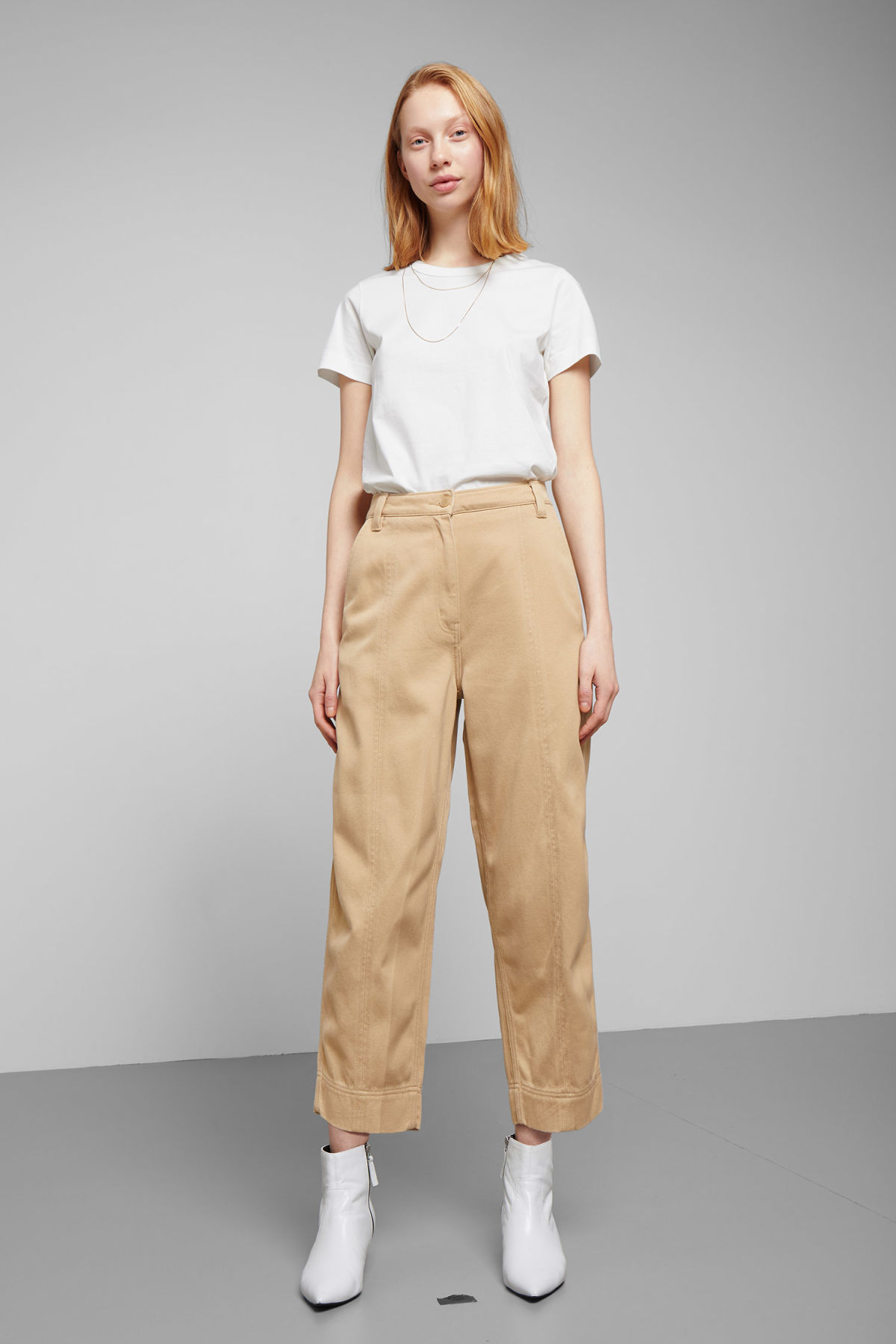 Model front image of Weekday tami trousers in beige