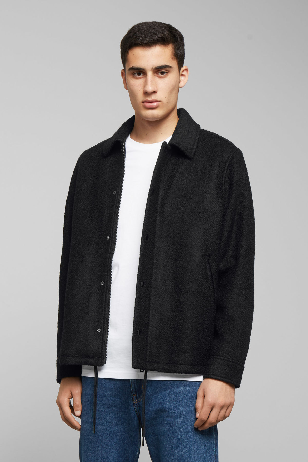 Model front image of Weekday rick boucle jacket in black