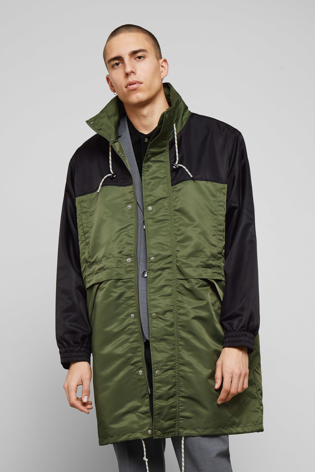 Model front image of Weekday erik parka in green